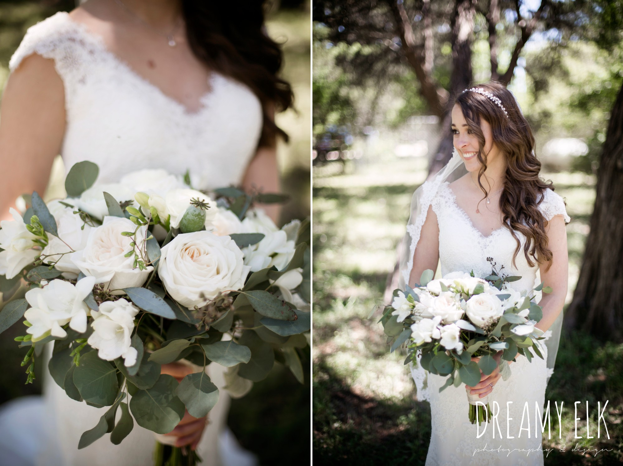 bride, lace wedding dress, lace wedding veil, white wedding bouquet, outdoor spring april wedding photo, chapel dulcinea ceremony, thurman's mansion, dripping springs, texas {dreamy elk photography and design}