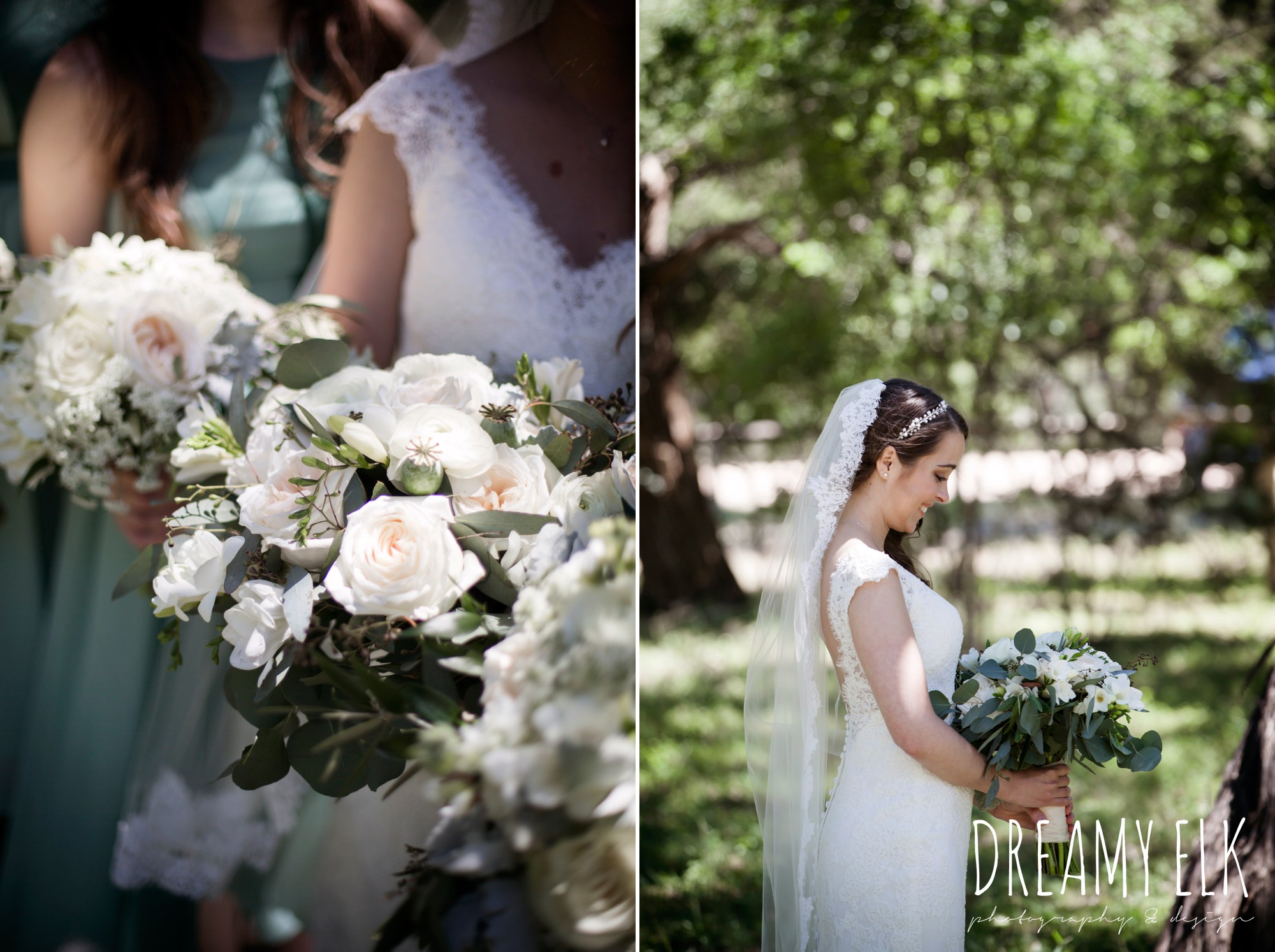 bride, bridesmaids, green bridesmaids dresses, mod cloth, lace wedding dress, lace wedding veil, white wedding bouquets, outdoor spring april wedding photo, chapel dulcinea ceremony, thurman's mansion, dripping springs, texas {dreamy elk photography and design}