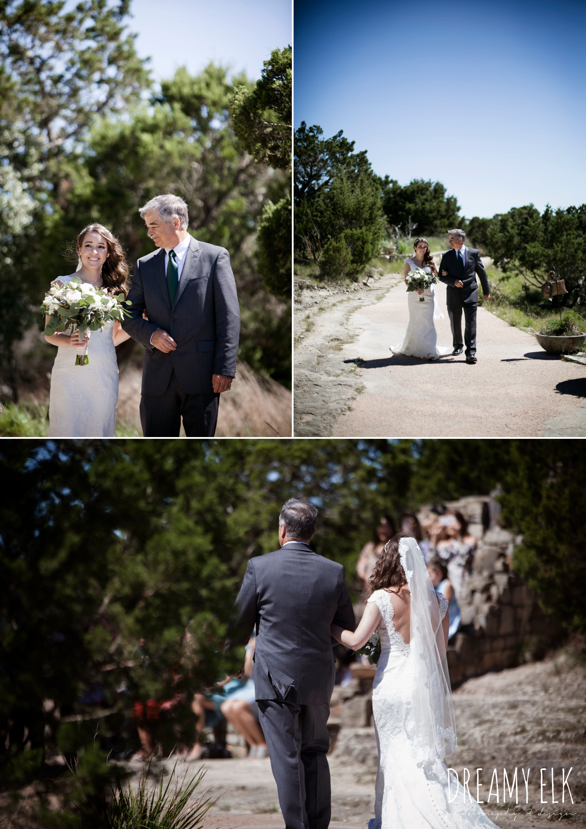 bride and dad walking down the aisle, outdoor spring april wedding photo, chapel dulcinea ceremony, thurman's mansion, dripping springs, texas {dreamy elk photography and design}