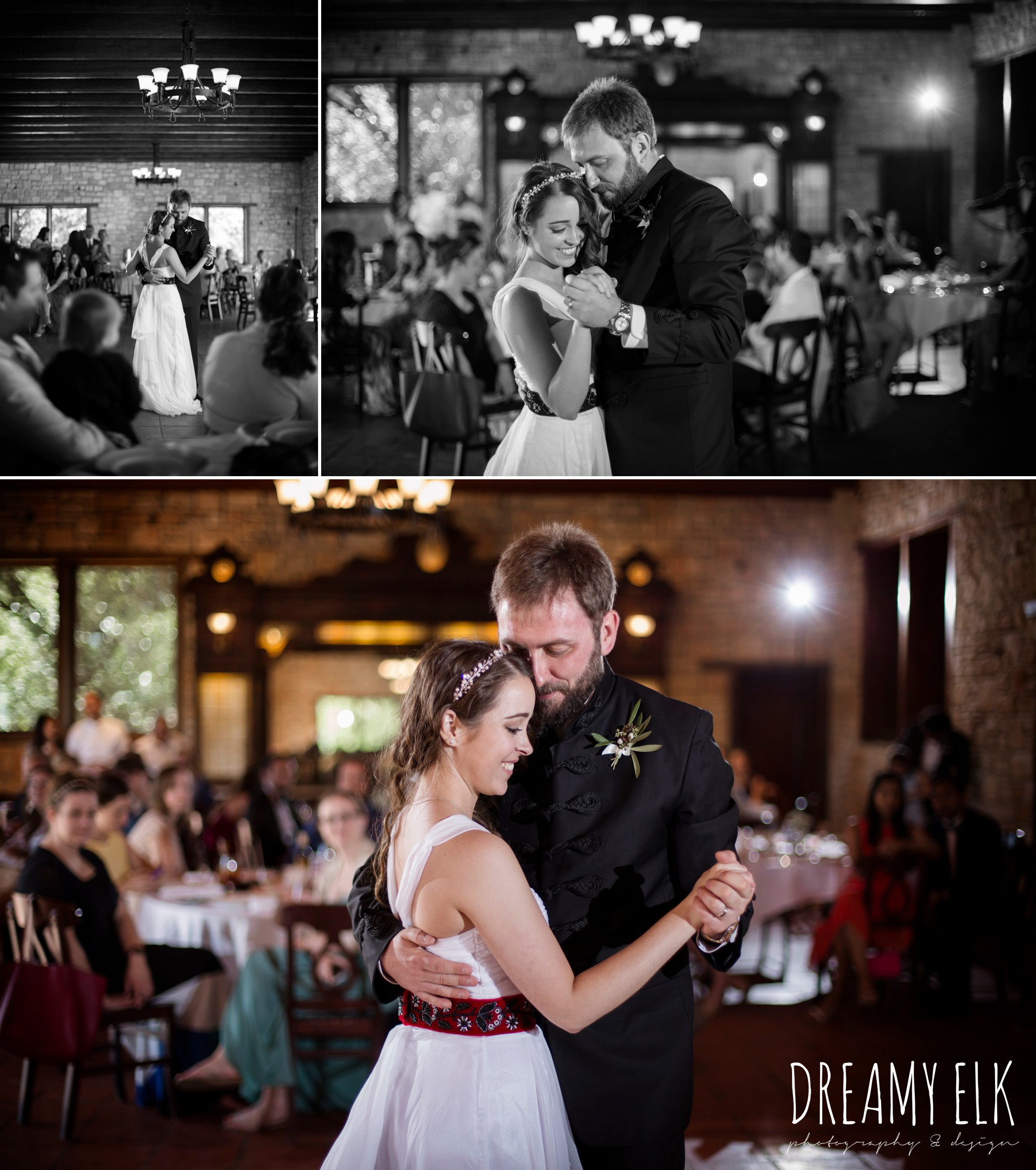 bride and groom first dance, outdoor spring april wedding photo, thurman's mansion, dripping springs, texas {dreamy elk photography and design}