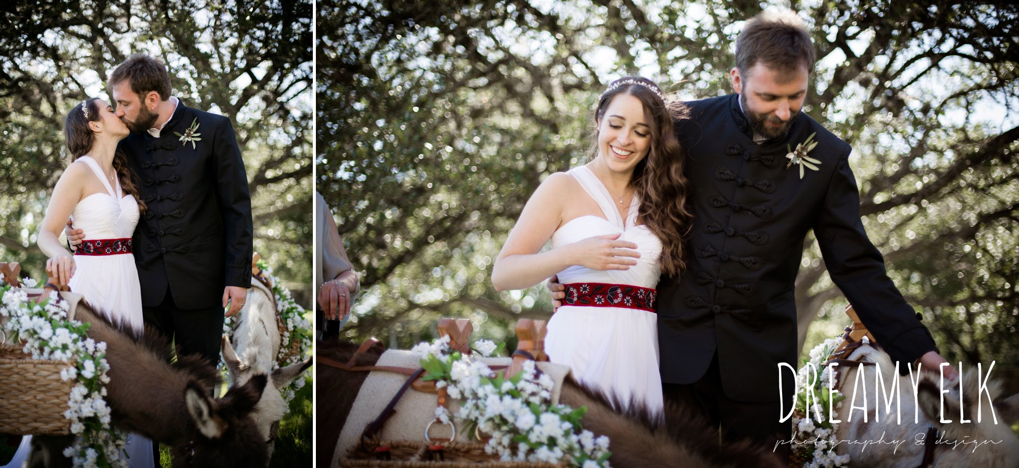 bride and groom with beer burros, outdoor spring april wedding photo, thurman's mansion, dripping springs, texas {dreamy elk photography and design}