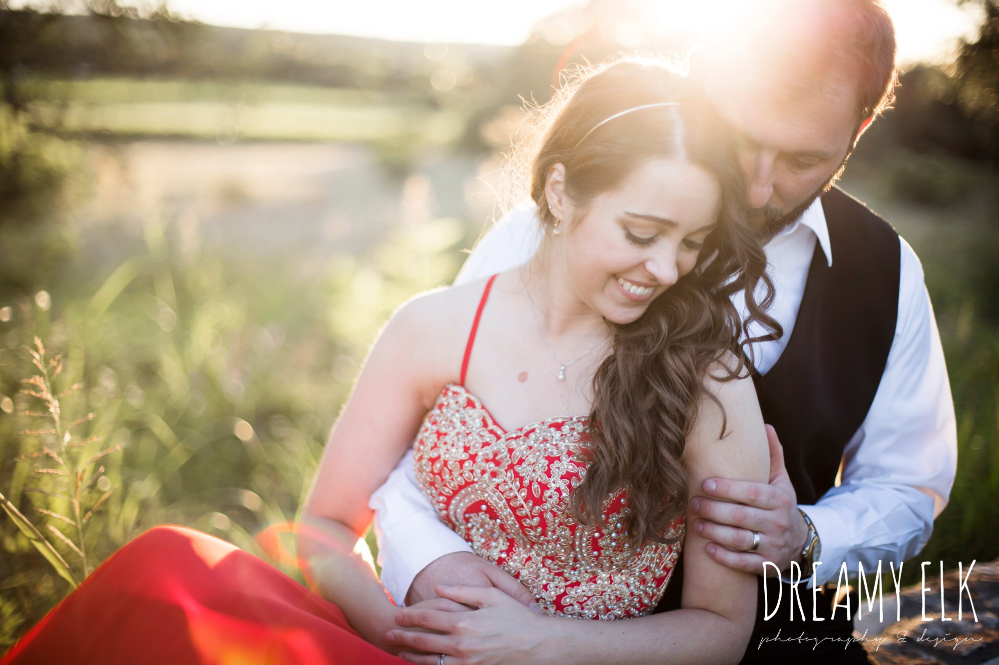 bride, groom, sunset photos, traditional red hungarian dress, outdoor spring april wedding photo, thurman's mansion, dripping springs, texas {dreamy elk photography and design}