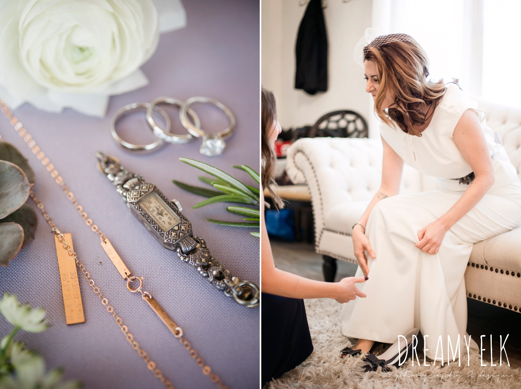 bride getting dressed, wedding jewelry, something old, something borrowed, le lafrendi handmade shoes, handmade wedding dress, two piece wedding dress, gray sash, outdoor april spring wedding photo, double creek crossing, college station, texas, austin wedding photographer {dreamy elk photography and design}