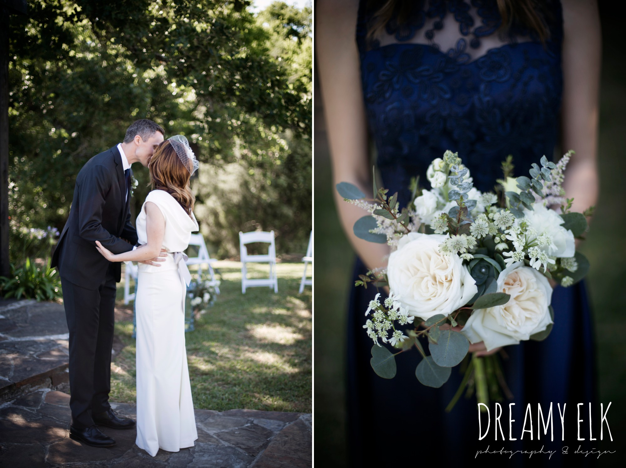 bride, groom, bridesmaid bouquet, unforgettable floral, white and green succulent wedding bouquet, handmade wedding dress, two piece wedding dress, gray sash, bird cage veil, outdoor april spring wedding photo, double creek crossing, college station, texas, austin wedding photographer {dreamy elk photography and design}