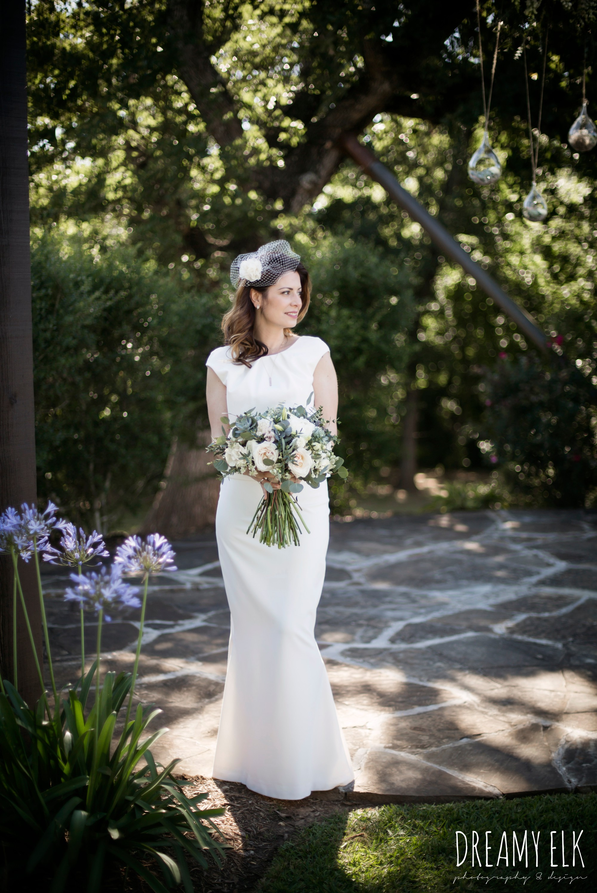 unforgettable floral, white and green succulent wedding bouquet, bride, handmade wedding dress, two piece wedding dress, gray sash, bird cage veil, outdoor april spring wedding photo, double creek crossing, college station, texas, austin wedding photographer {dreamy elk photography and design}