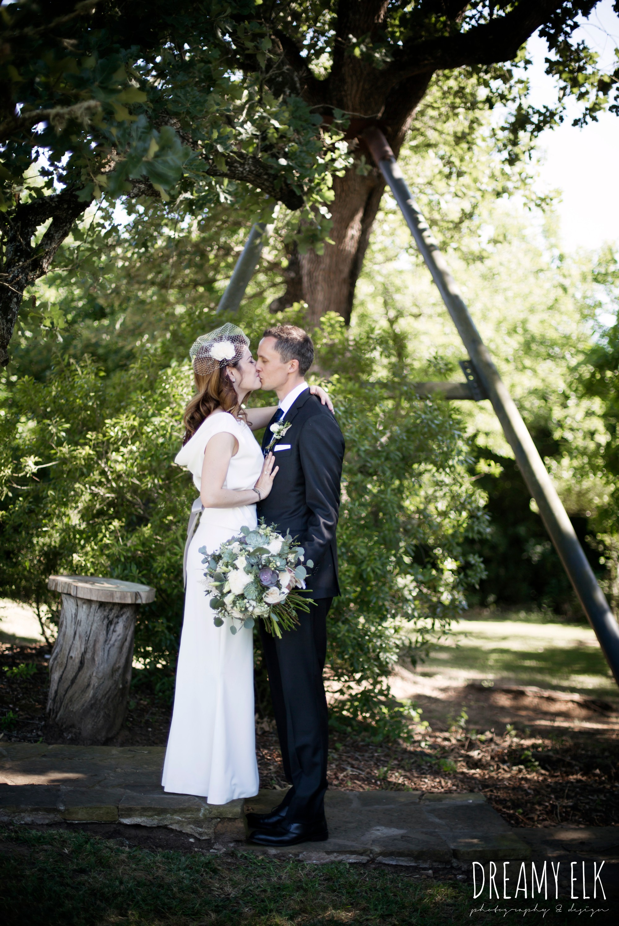bride and groom portraits, unforgettable floral, white and green succulent wedding bouquet, bride, handmade wedding dress, two piece wedding dress, gray sash, bird cage veil, outdoor april spring wedding photo, double creek crossing, college station, texas, austin wedding photographer {dreamy elk photography and design}