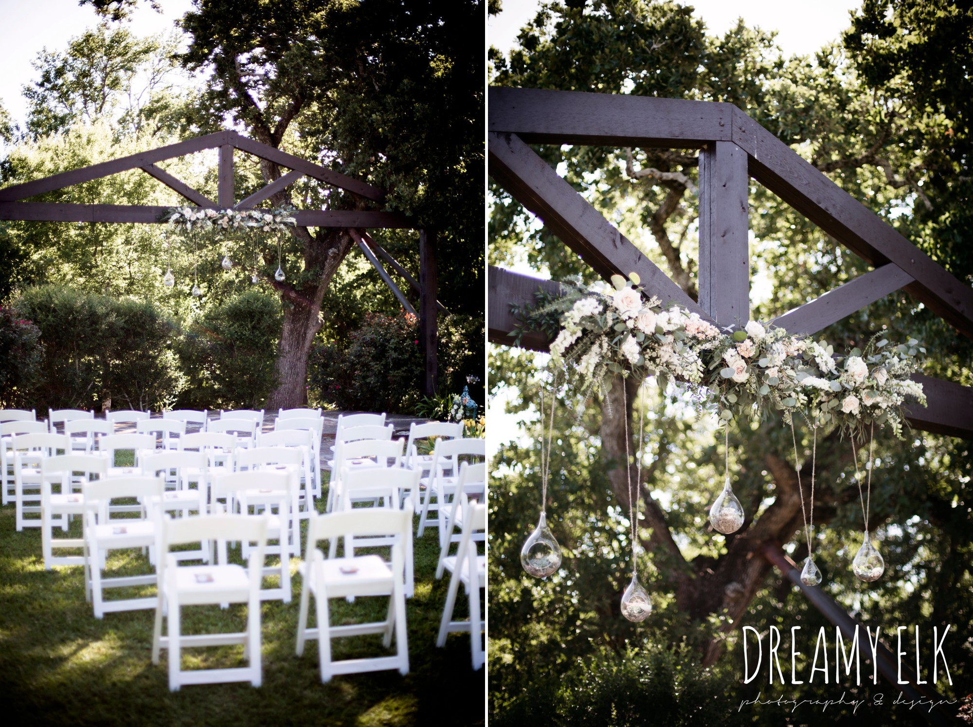 unforgettable floral, white and green succulent wedding altar piece, outdoor april spring wedding photo, double creek crossing, college station, texas, austin wedding photographer {dreamy elk photography and design}