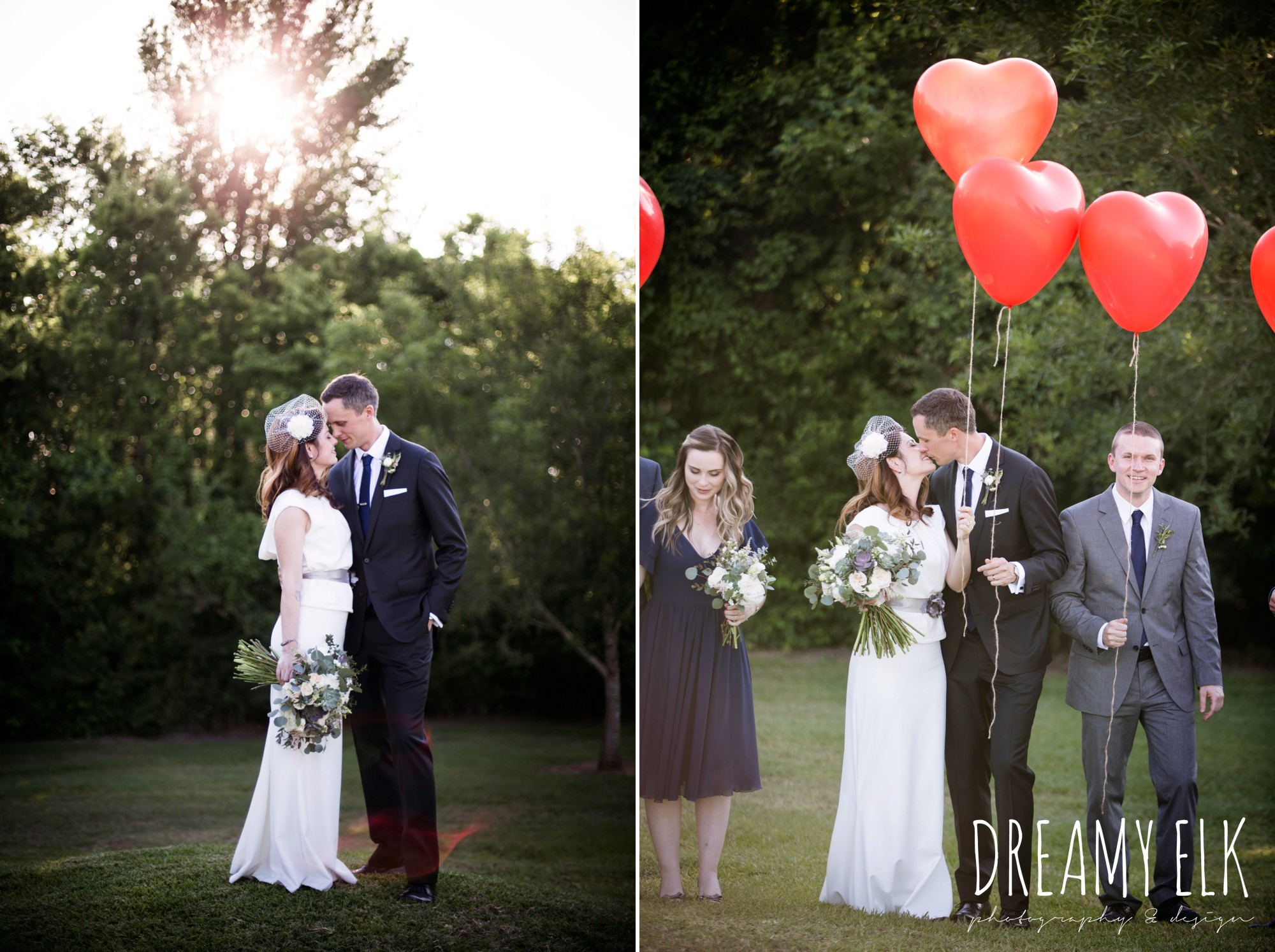 bride and groom portraits, red heart balloons, unforgettable floral, white and green succulent wedding bouquet, bride, handmade wedding dress, two piece wedding dress, gray sash, bird cage veil, outdoor april spring wedding photo, double creek crossing, college station, texas, austin wedding photographer {dreamy elk photography and design}