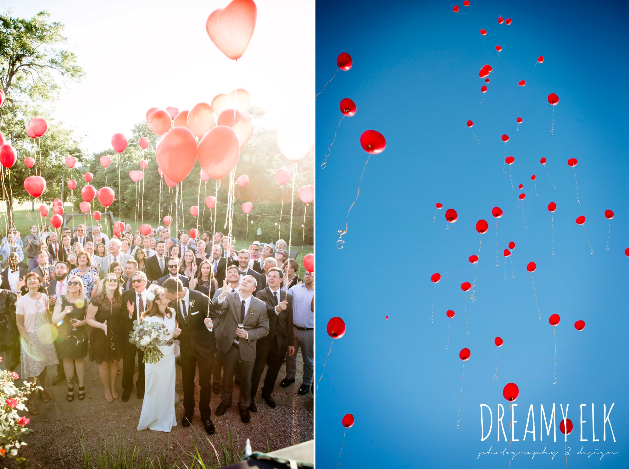 releasing balloons at wedding, guests, red heart balloons, outdoor april spring wedding photo, double creek crossing, college station, texas, austin wedding photographer {dreamy elk photography and design}