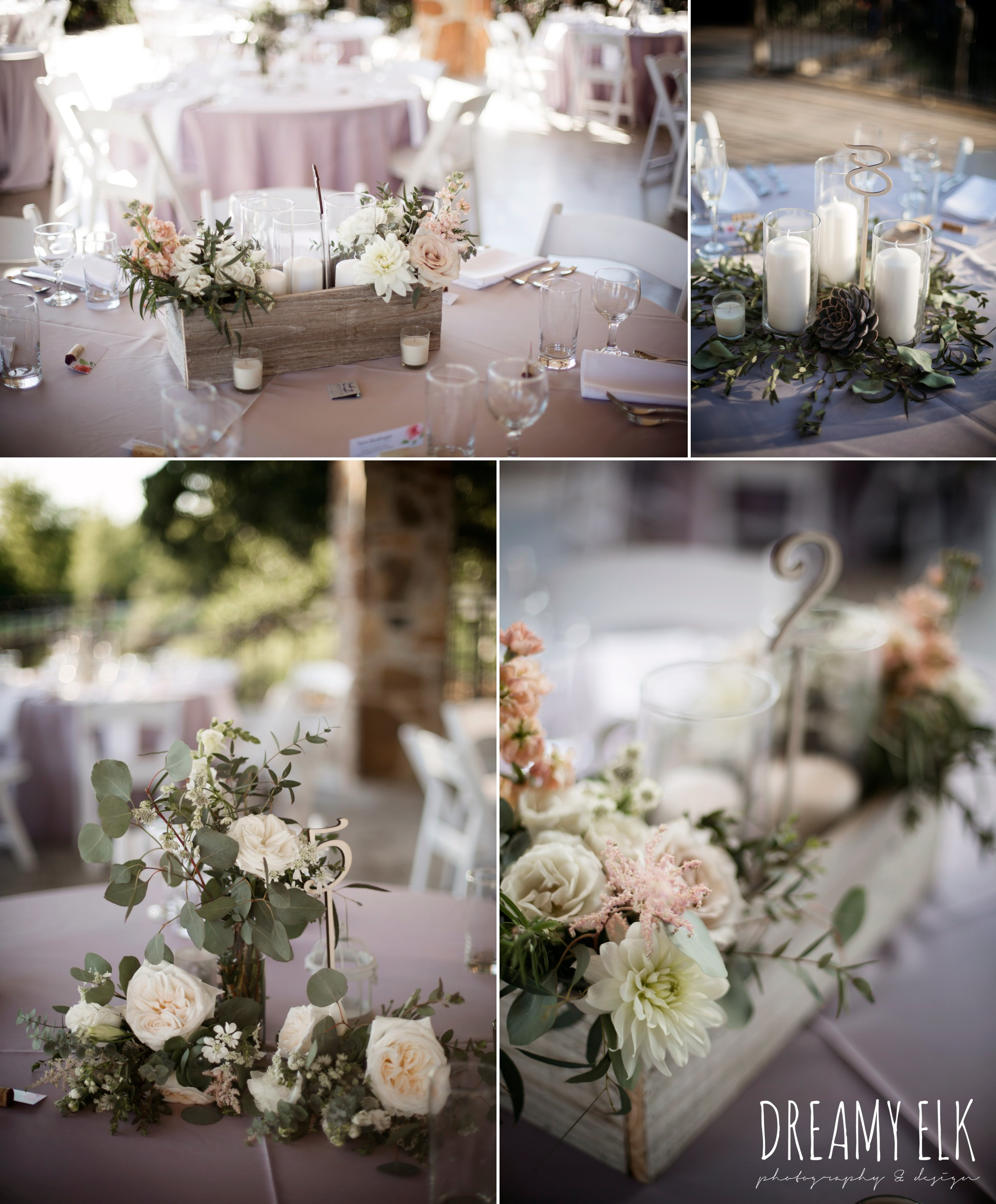 unforgettable floral, white and green succulent wedding reception table centerpieces, details party rentals, outdoor april spring wedding photo, double creek crossing, college station, texas, austin wedding photographer {dreamy elk photography and design}