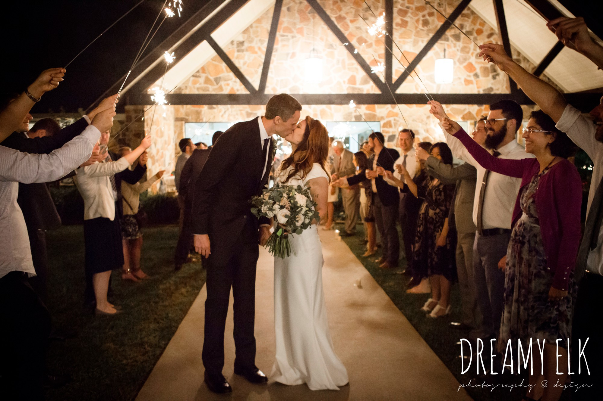 wedding send off with sparklers, night, handmade wedding dress, two piece wedding dress, gray sash, bird cage veil, outdoor april spring wedding photo, double creek crossing, college station, texas, austin wedding photographer {dreamy elk photography and design}