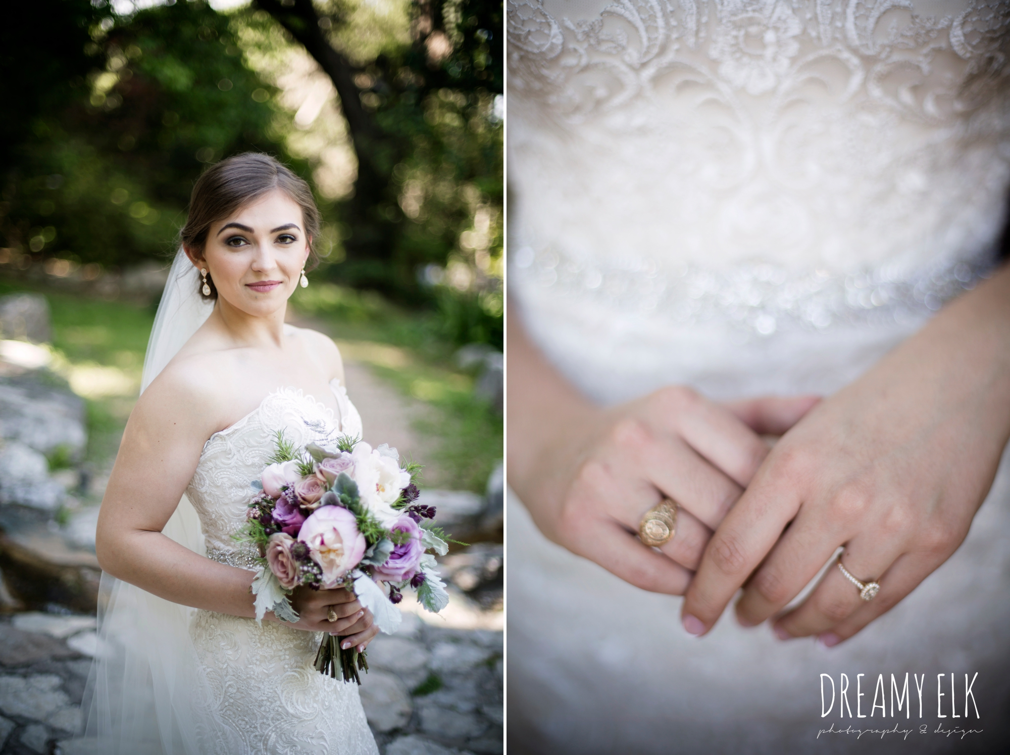 outdoor bridal photo, lace fit and flare sweetheart wedding dress, purple wedding bouquet, long veil, wedding hair up, zilker botanical gardens, austin, texas {dreamy elk photography and design}