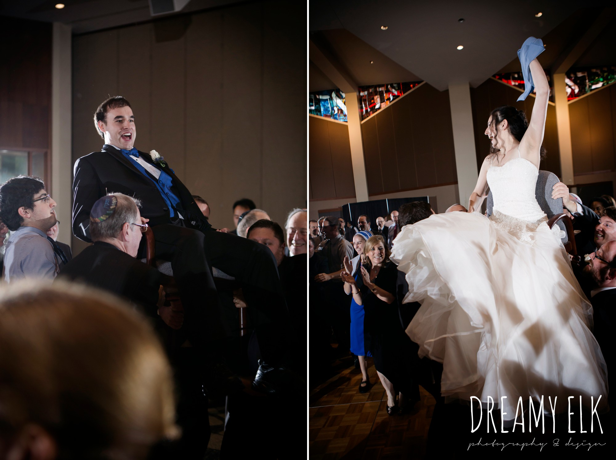 bride and groom in chairs, horah dance, summer june jewish wedding photo {dreamy elk photography and design}