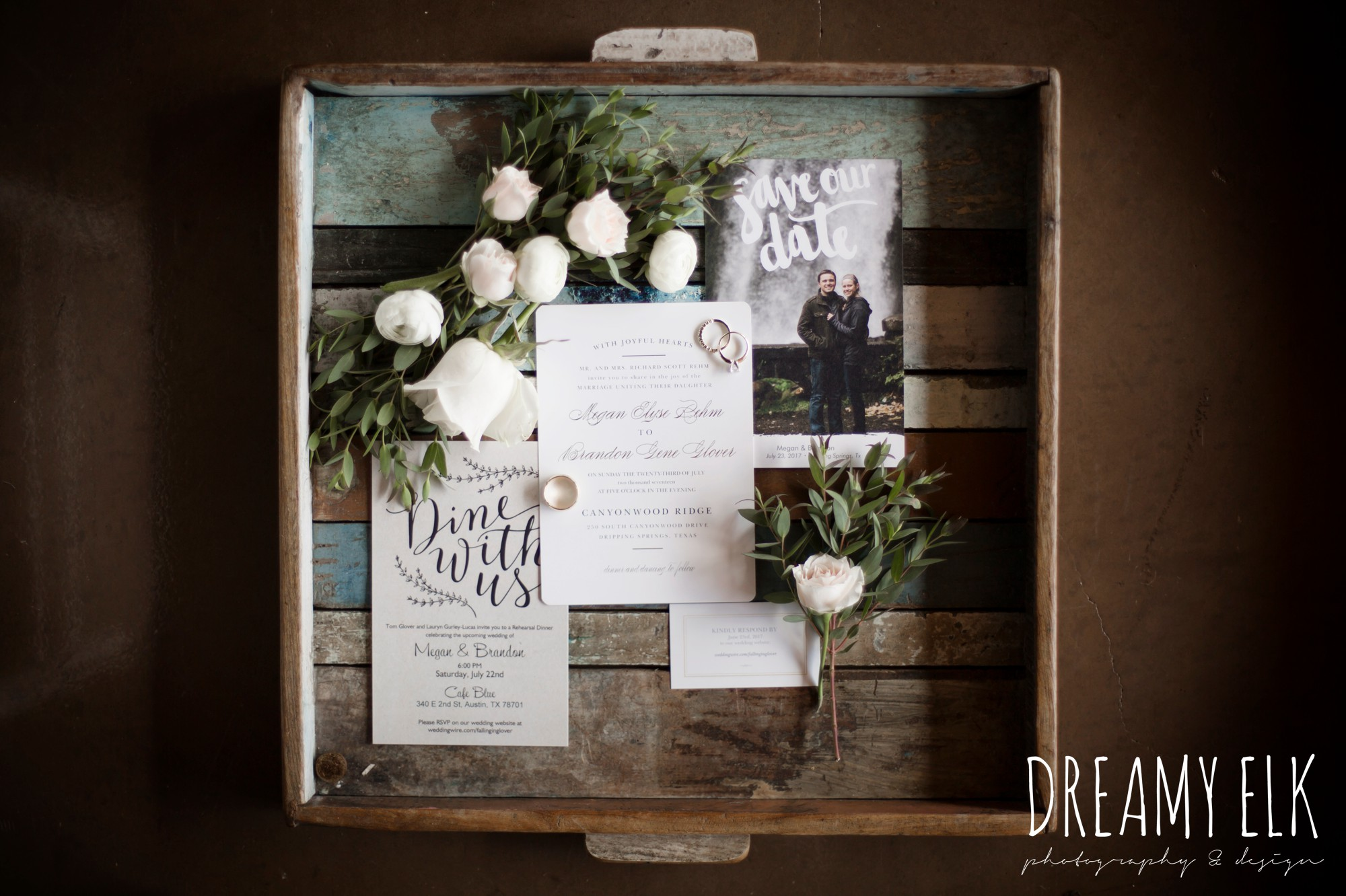 wild bunches floral, wedding invitation suite, summer july wedding photo, canyonwood ridge, dripping springs, texas {dreamy elk photography and design}