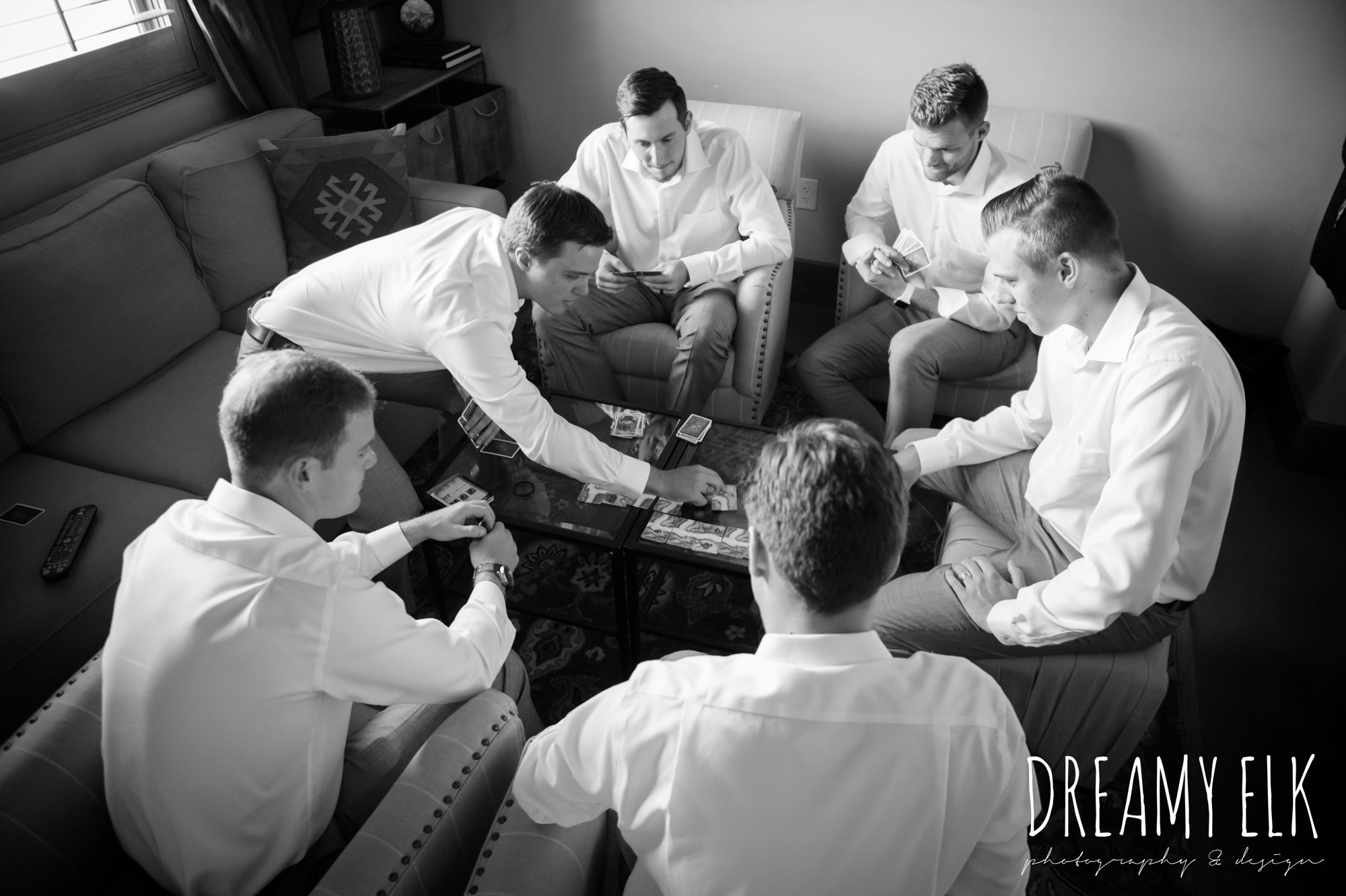 groomsmen playing cards, summer july wedding photo, canyonwood ridge, dripping springs, texas {dreamy elk photography and design}
