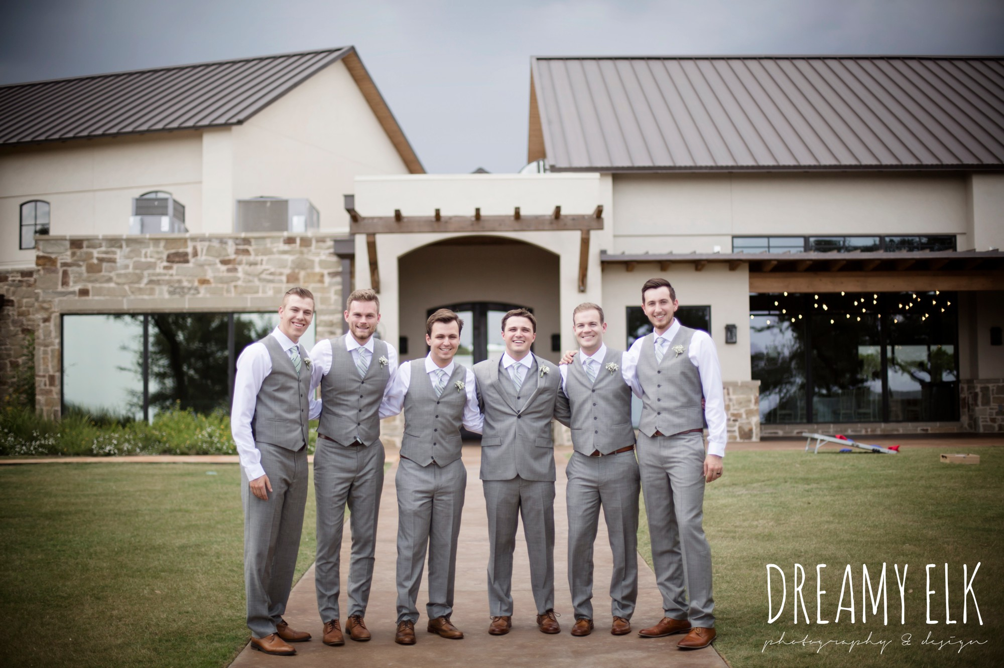 groomsmen, groom, mens wearhouse, gray suits, summer july wedding photo, canyonwood ridge, dripping springs, texas {dreamy elk photography and design}