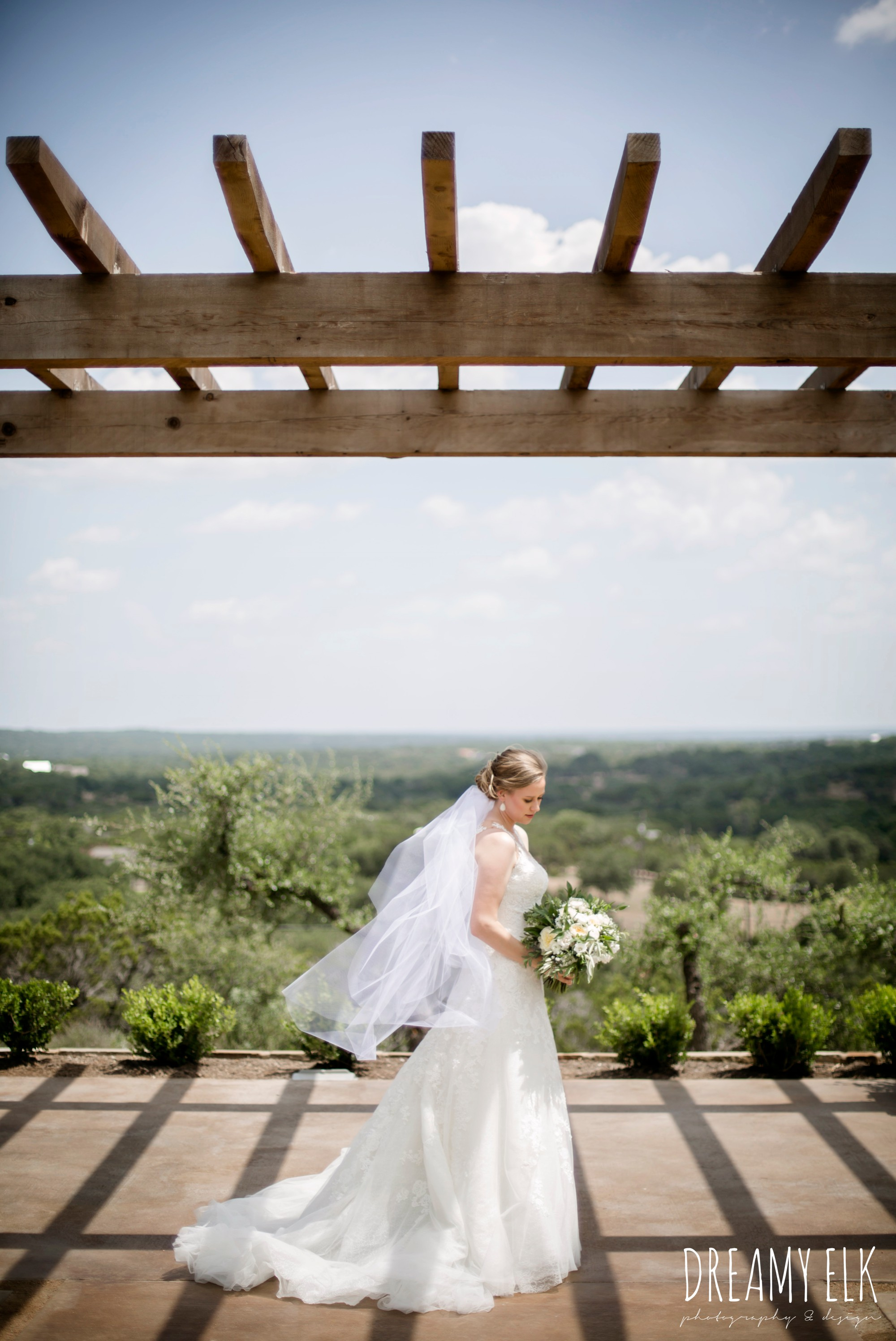 wild bunches floral, david's bridal illusion neckline wedding dress, wedding hair updo, katy reddell hair and makeup, summer july wedding photo, canyonwood ridge, dripping springs, texas {dreamy elk photography and design}
