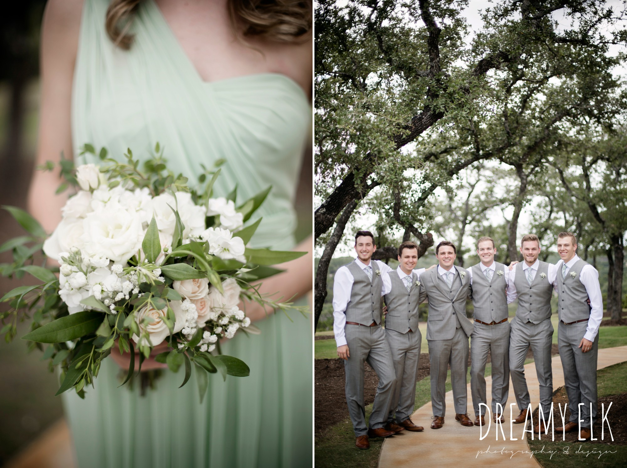bride, bridesmaids, mix and match long mint bridesmaids dress, groomsmen, groom, mens wearhouse, gray suits, summer july wedding photo, canyonwood ridge, dripping springs, texas {dreamy elk photography and design}