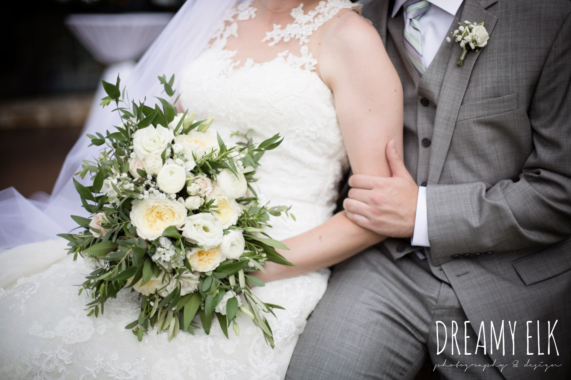 groom, mens wearhouse, gray suits, wild bunches floral, david's bridal illusion neckline wedding dress, summer july wedding photo, canyonwood ridge, dripping springs, texas {dreamy elk photography and design}
