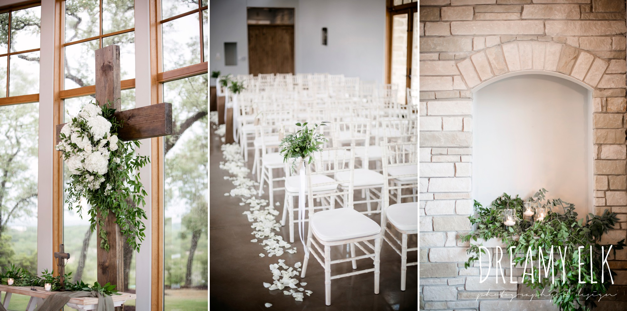 indoor ceremony, wild bunches floral, summer july wedding photo, canyonwood ridge, dripping springs, texas {dreamy elk photography and design}