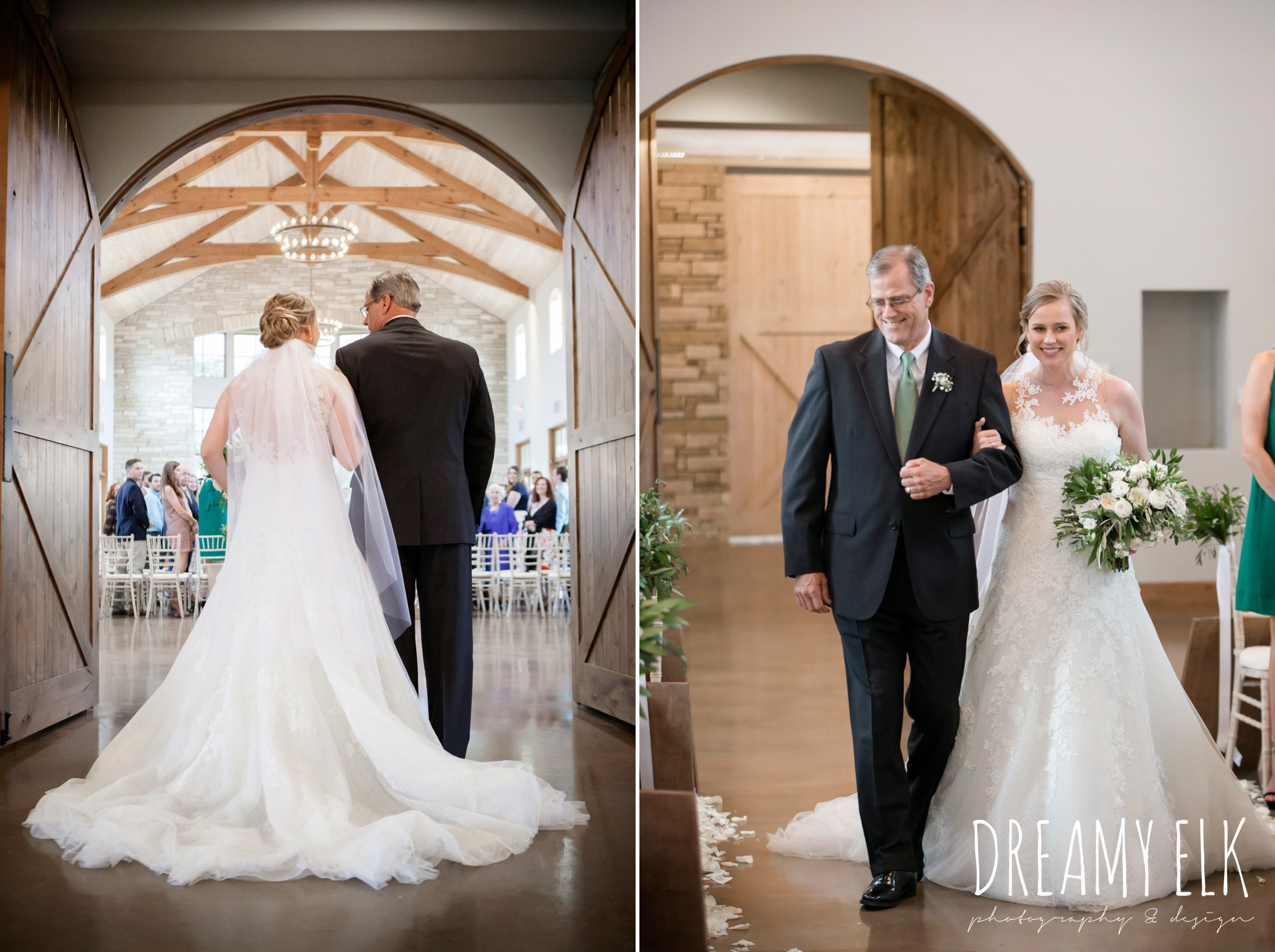 indoor ceremony, bride and dad walking down the aisle, summer july wedding photo, canyonwood ridge, dripping springs, texas {dreamy elk photography and design}