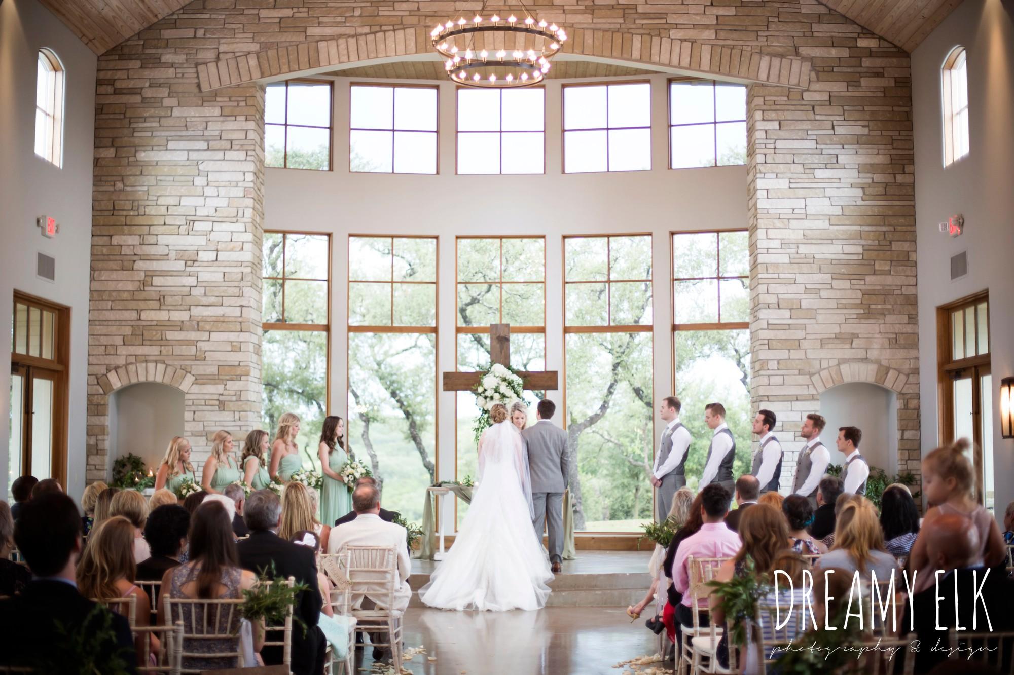 indoor wedding ceremony, summer july wedding photo, canyonwood ridge, dripping springs, texas {dreamy elk photography and design}