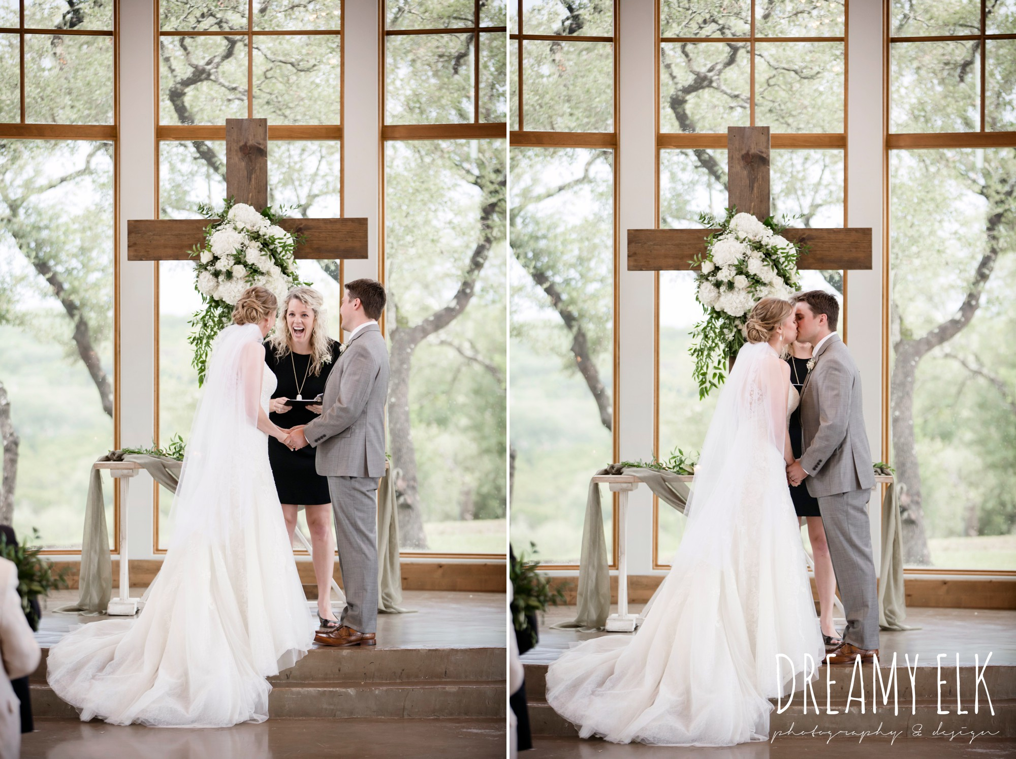 indoor wedding ceremony, bride and groom kissing, summer july wedding photo, canyonwood ridge, dripping springs, texas {dreamy elk photography and design}