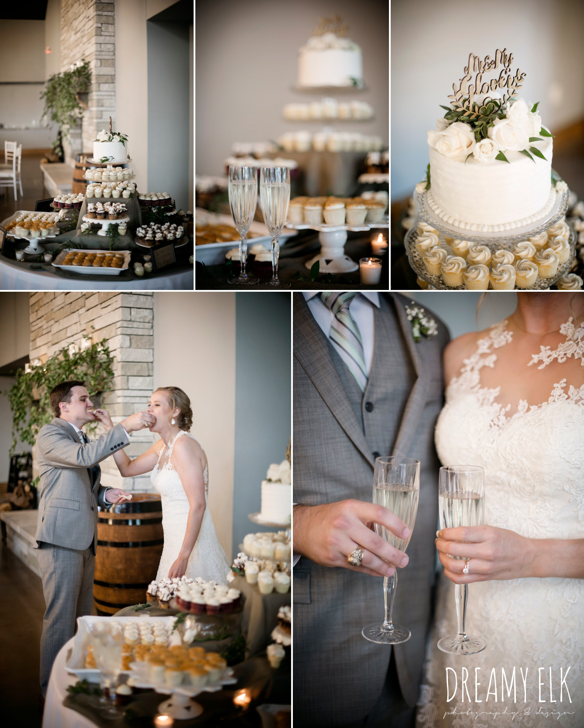 indoor wedding reception, cake table, cupcakes, sweet treet bakery, summer july wedding photo, canyonwood ridge, dripping springs, texas {dreamy elk photography and design}