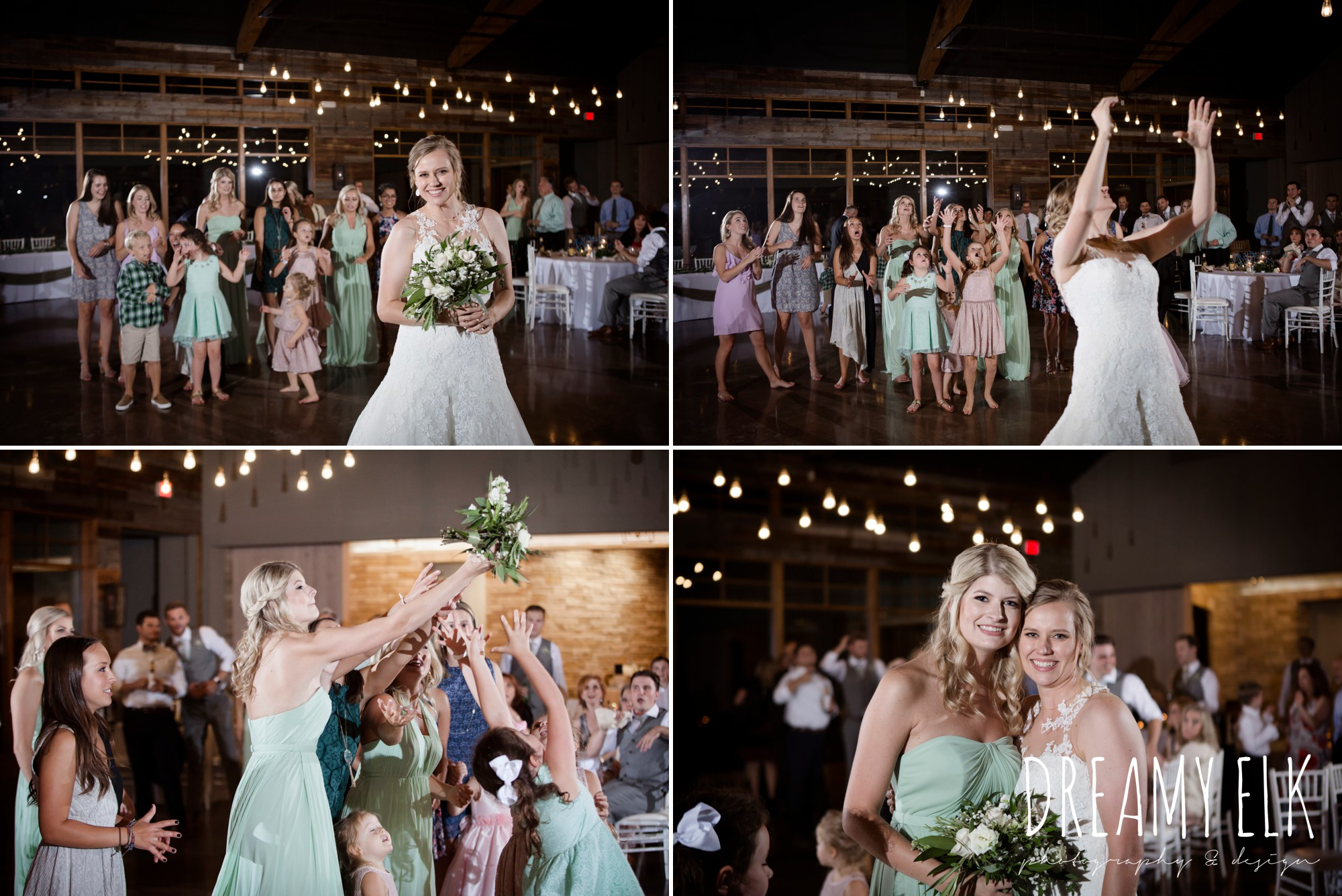 indoor wedding reception, bouquet toss, summer july wedding photo, canyonwood ridge, dripping springs, texas {dreamy elk photography and design}