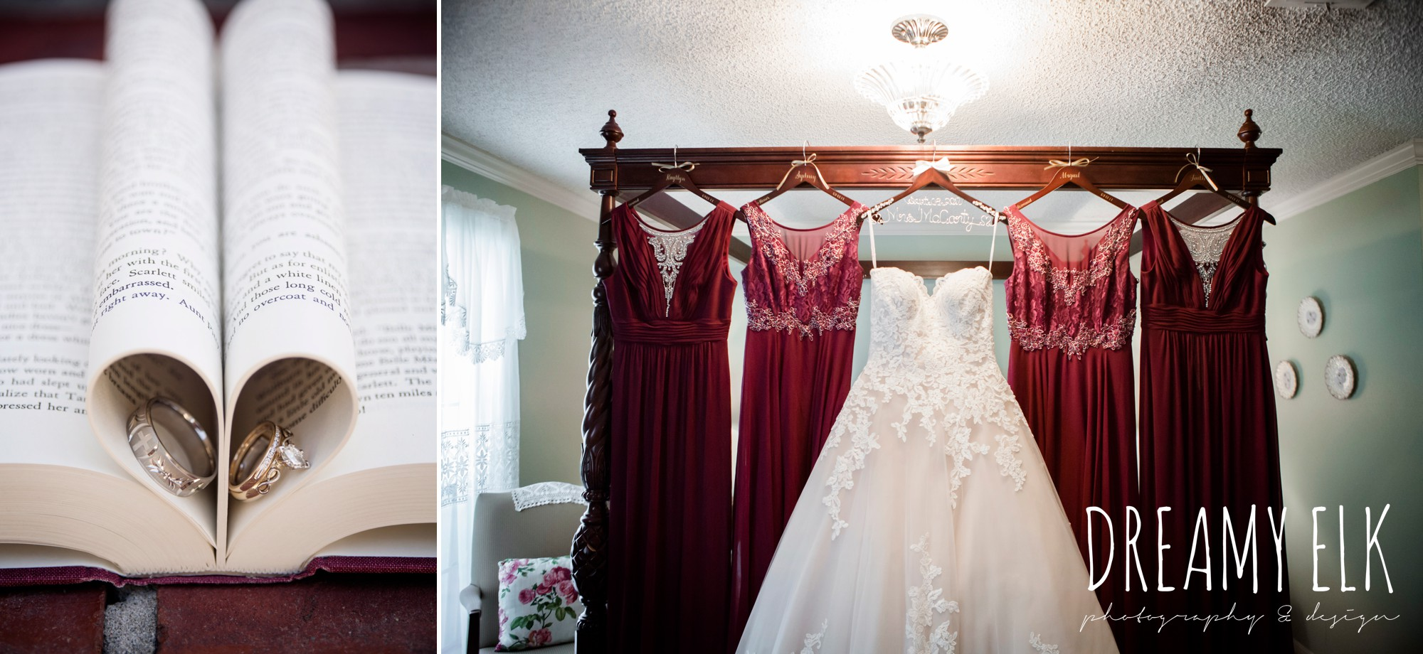 wedding rings in book, mix matched maroon long bridesmaids dress with embellishments, sweetheart lace ballgown wedding dress, oyester underlay, september wedding photo, ashelynn manor, magnolia, texas, austin texas wedding photographer {dreamy elk photography and design}