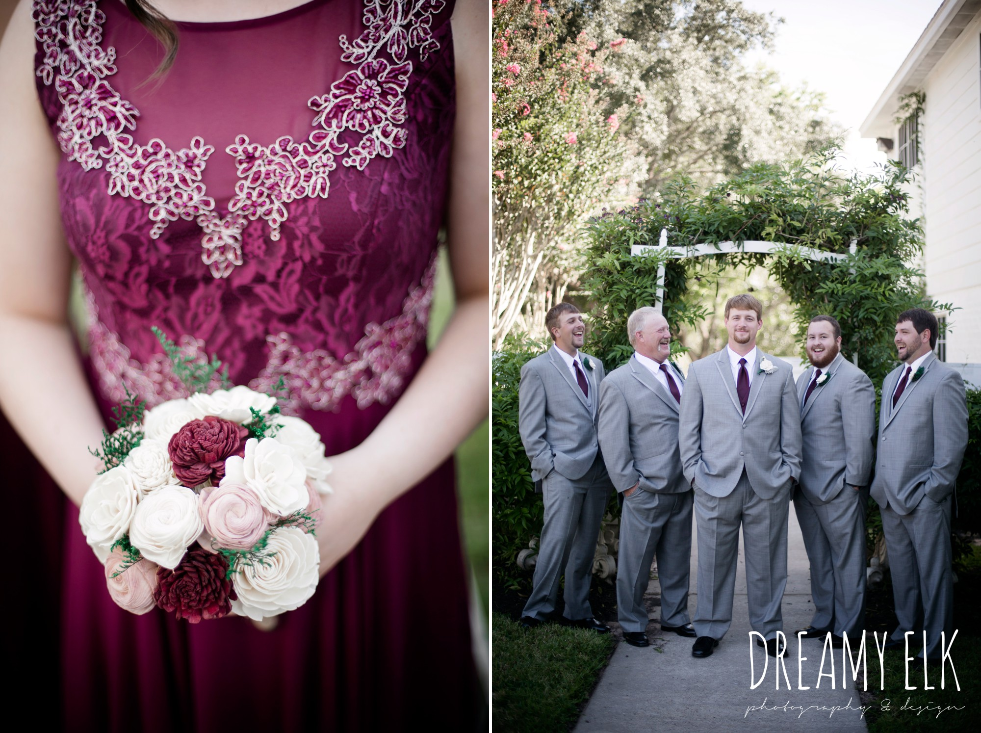 mix matched maroon long bridesmaids dress with embellishments, groom and groomsmen, men's wearhouse gray tux with maroon vest and tie, september wedding photo, ashelynn manor, magnolia, texas, austin texas wedding photographer {dreamy elk photography and design}