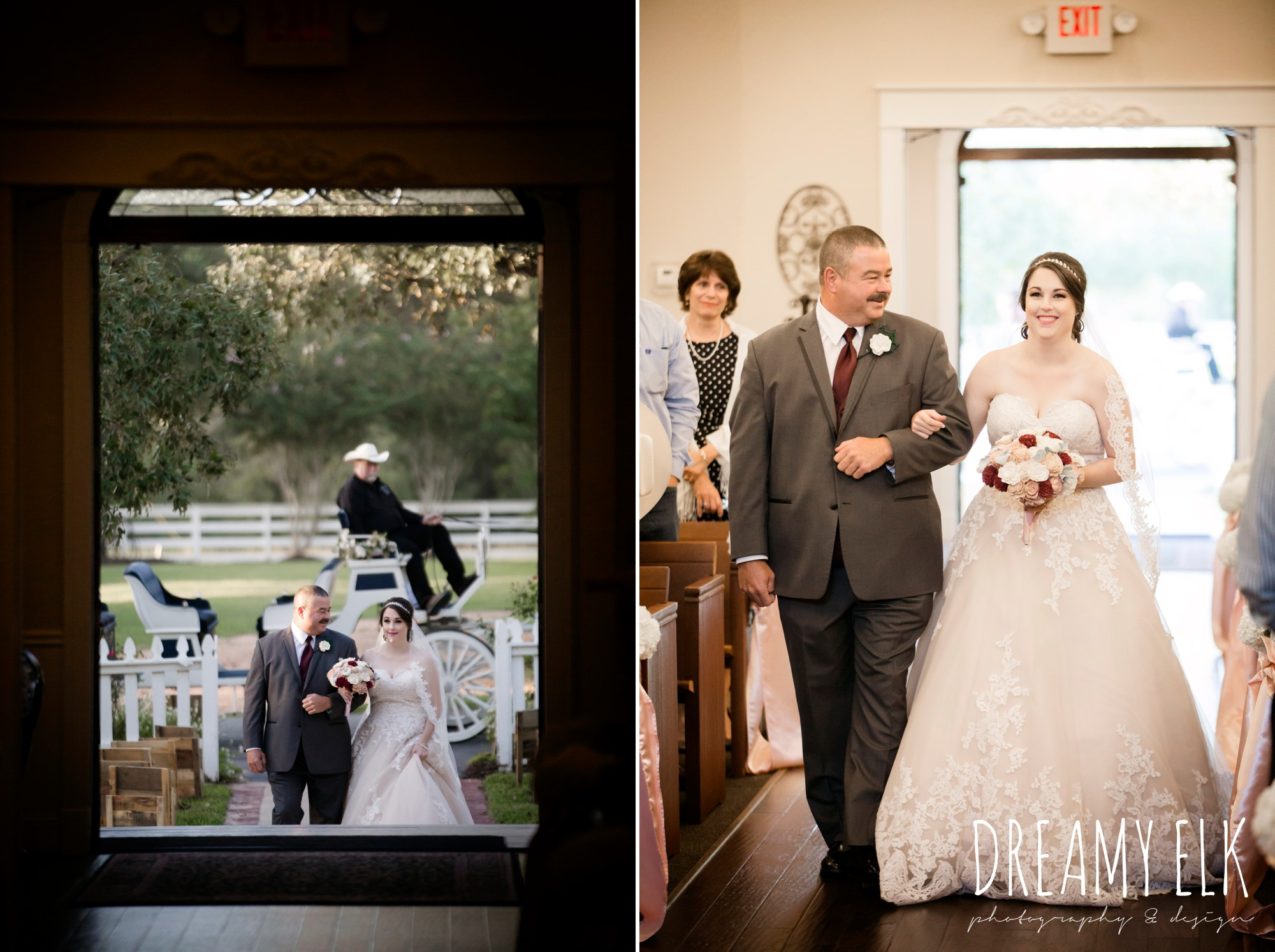 wedding ceremony, bride and dad walking down the aisle, bride, sweetheart lace ballgown wedding dress, oyester underlay, lace trimmed veil, rhinestone headpiece, september wedding photo, ashelynn manor, magnolia, texas, austin texas wedding photographer {dreamy elk photography and design}