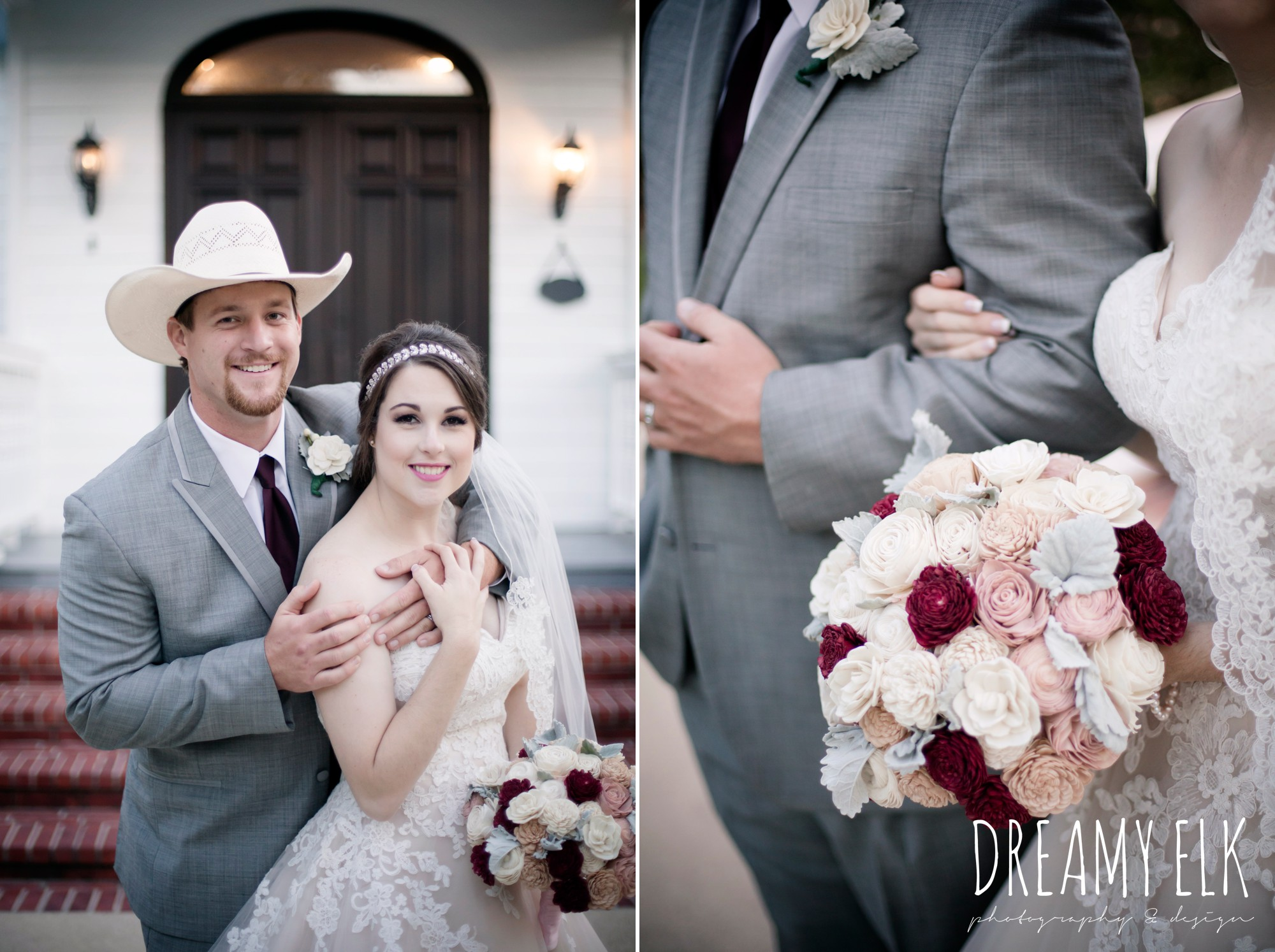 bride, sweetheart lace ballgown wedding dress, oyester underlay, lace trimmed veil, rhinestone headpiece, groom, cowboy hat, men's wearhouse gray tux with maroon vest and tie, september wedding photo, ashelynn manor, magnolia, texas, austin texas wedding photographer {dreamy elk photography and design}