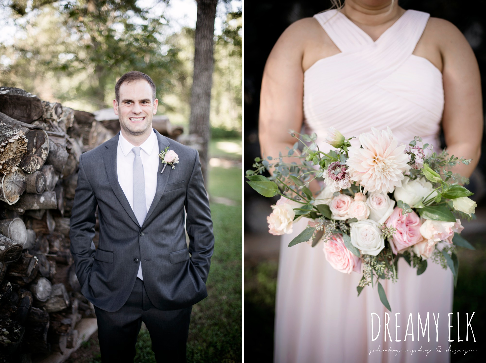 mix and match floor length blush bridesmaid dresses, groom, gray jos a bank suit, outdoor fall october wedding photo, blush and gray wedding, balmorhea weddings and events, dreamy elk photography and design, austin texas wedding photographer