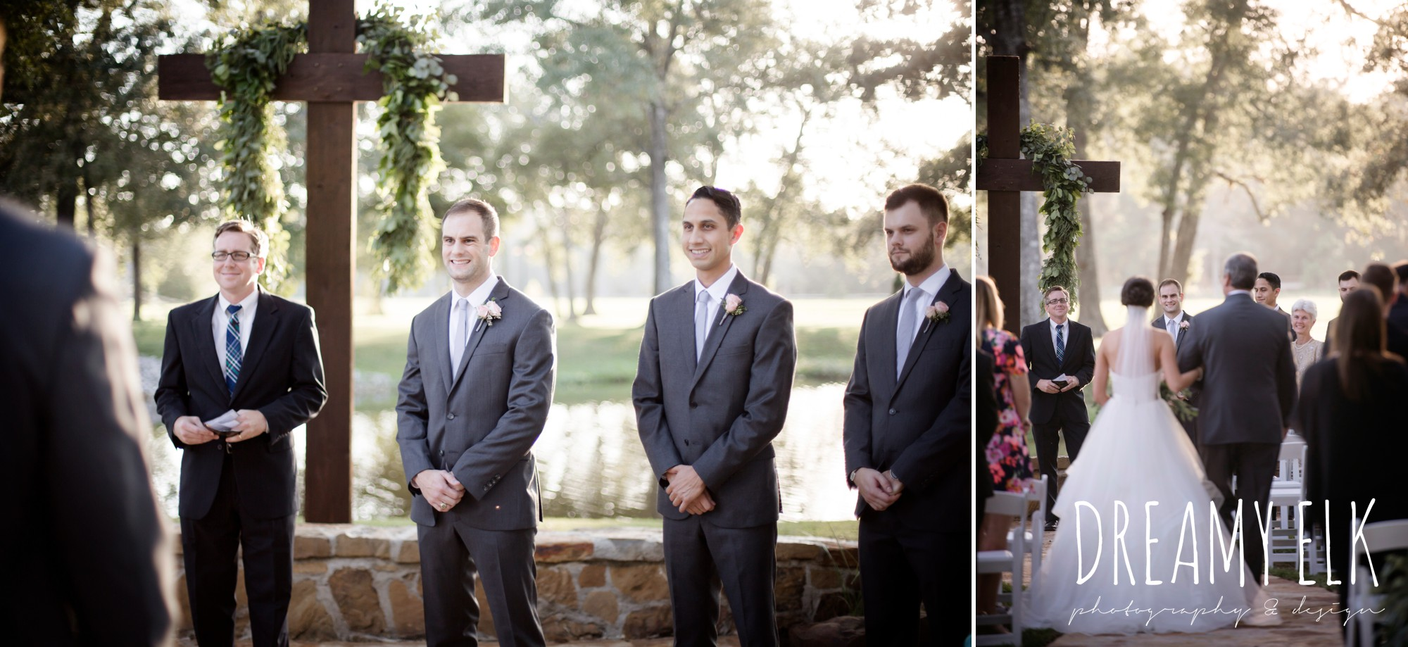 bride walking down the aisle, groom's reaction to bride, outdoor fall october wedding photo, blush and gray wedding, balmorhea weddings and events, dreamy elk photography and design, austin texas wedding photographer