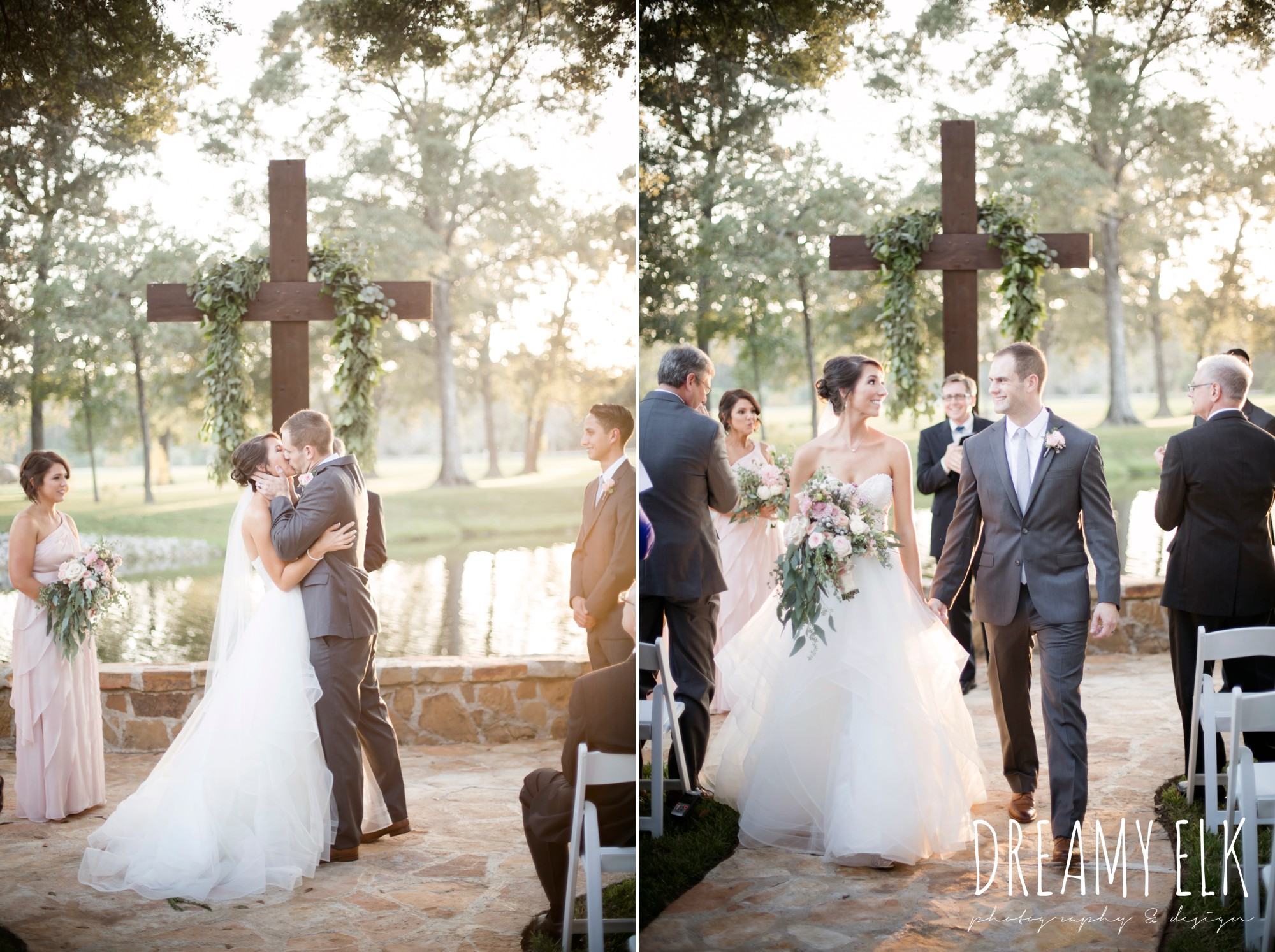 sunset wedding ceremony, bride and groom kissing, walking down the aisle, outdoor fall october wedding photo, blush and gray wedding, balmorhea weddings and events, dreamy elk photography and design, austin texas wedding photographer