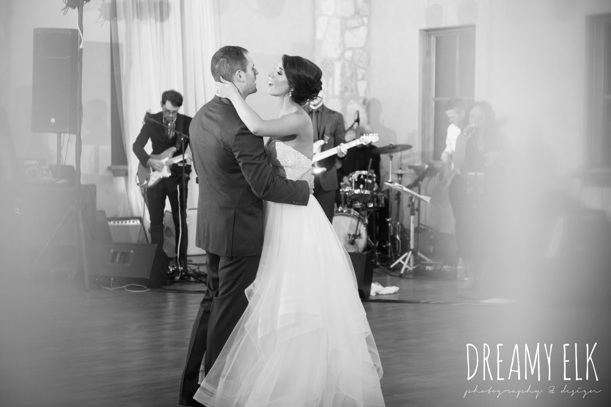 bride and groom last dance, wedding reception, the undercover band, outdoor fall october wedding photo, blush and gray wedding, balmorhea weddings and events, dreamy elk photography and design, austin texas wedding photographer