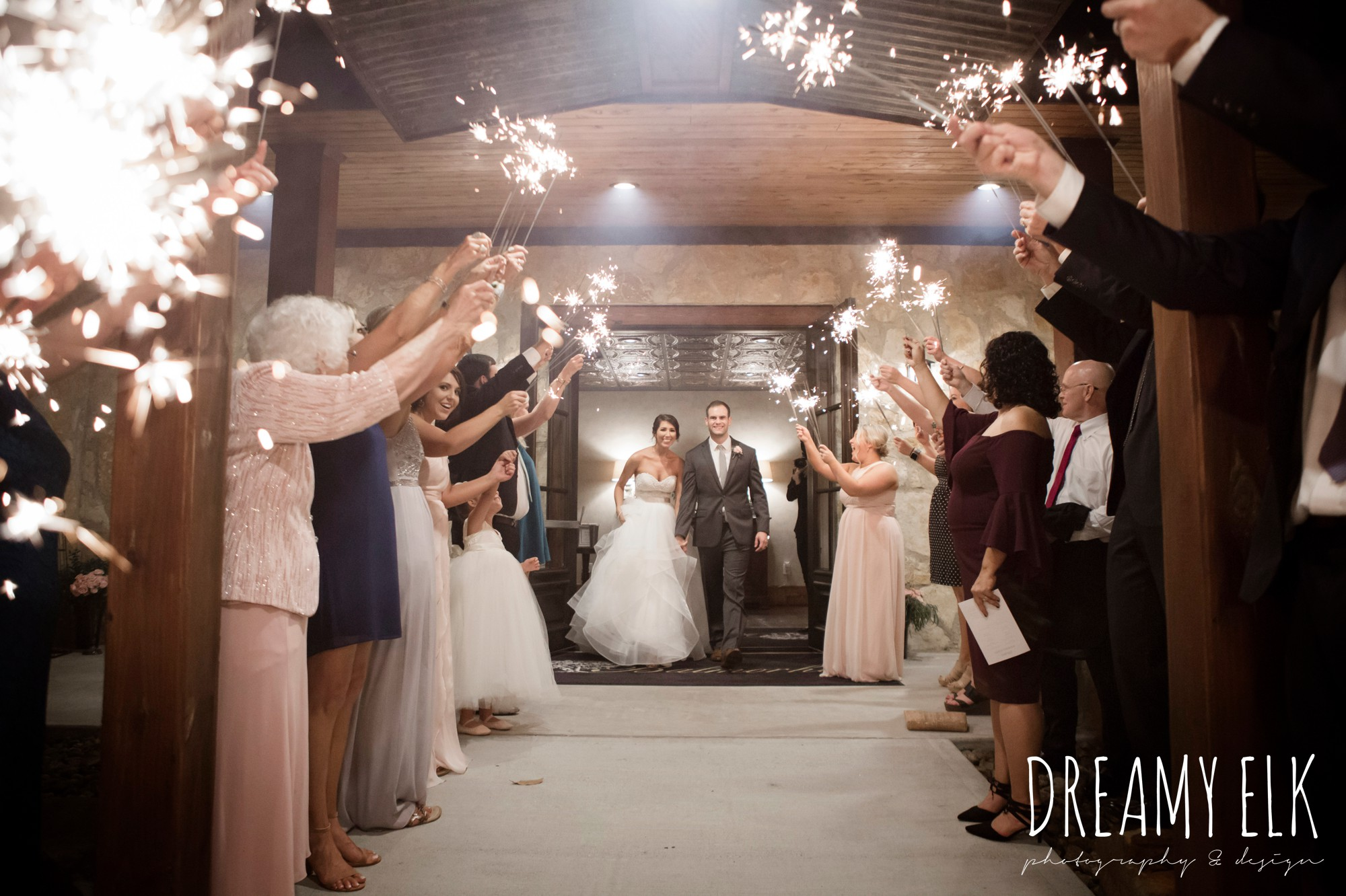 evening night wedding send off with sparklers, outdoor fall october wedding photo, blush and gray wedding, balmorhea weddings and events, dreamy elk photography and design, austin texas wedding photographer