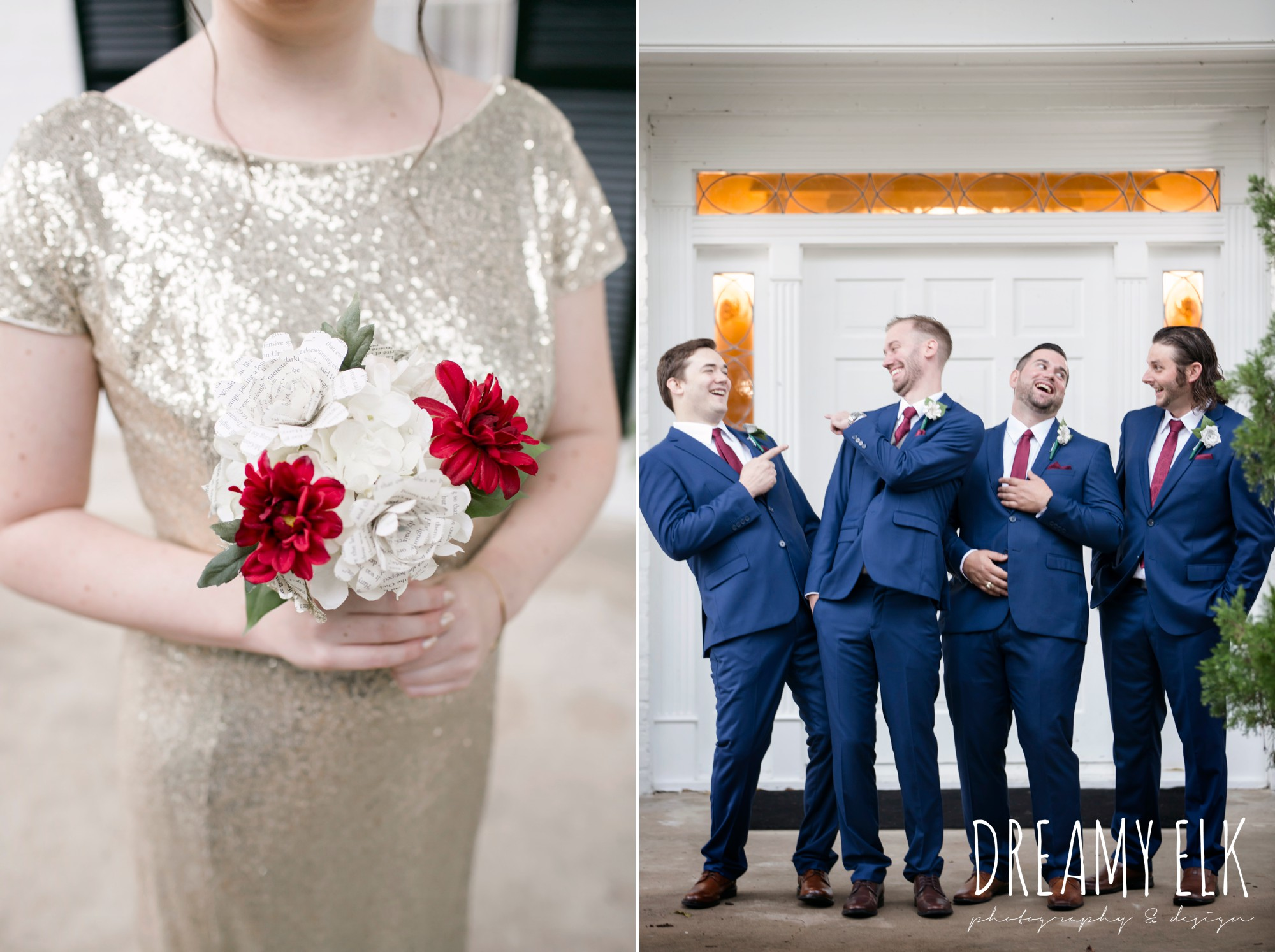 gold sequin floor length cowl back bridesmaid dress, groom and groomsmen, navy suit gray vest maroon tie, Bravo suit and tux, fall wedding, gold and navy wedding photo, ashelynn manor, austin texas wedding photographer, dreamy elk photography and design, emily ross