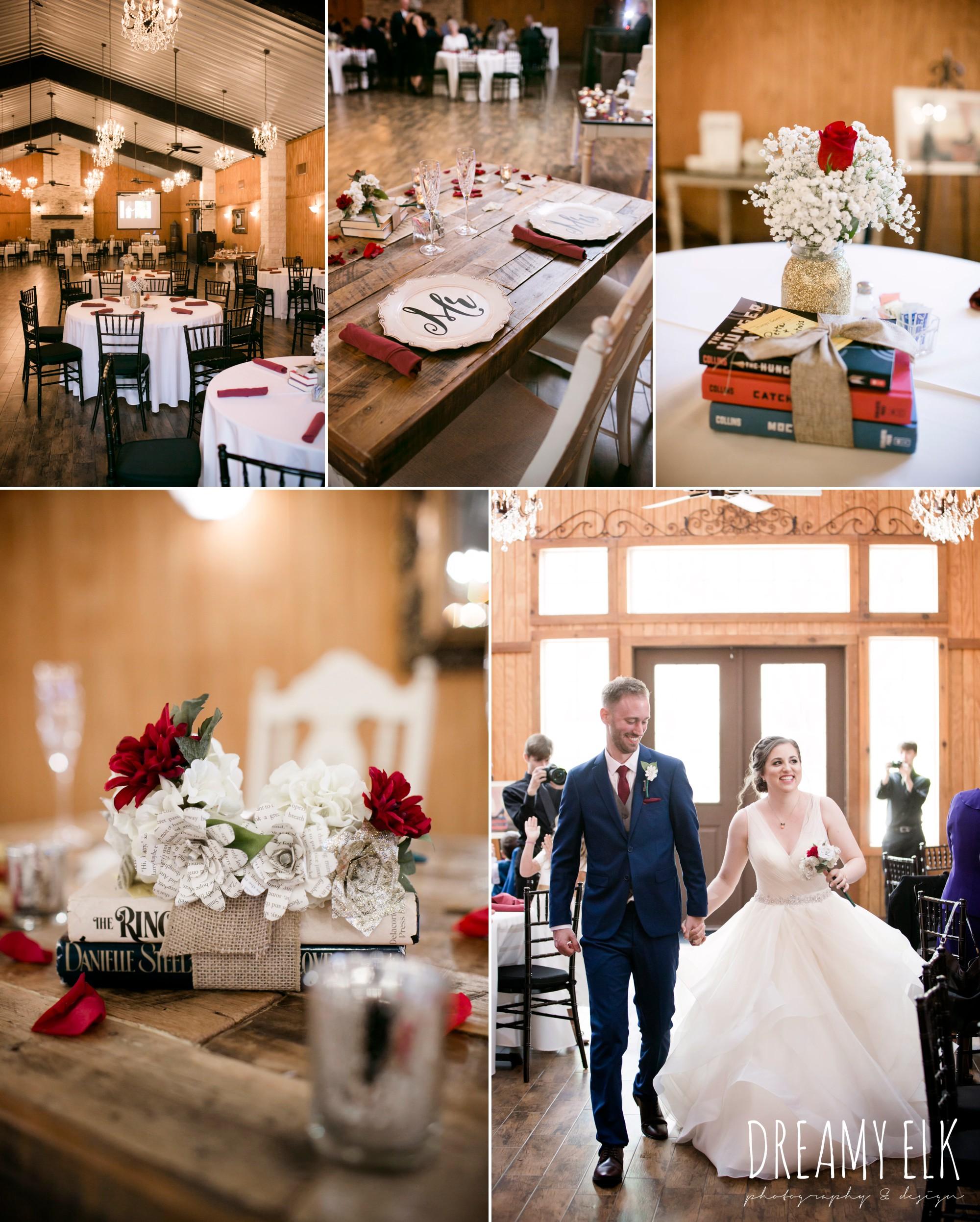 book table centerpieces, fall wedding, gold and navy wedding photo, ashelynn manor, austin texas wedding photographer, dreamy elk photography and design, emily ross