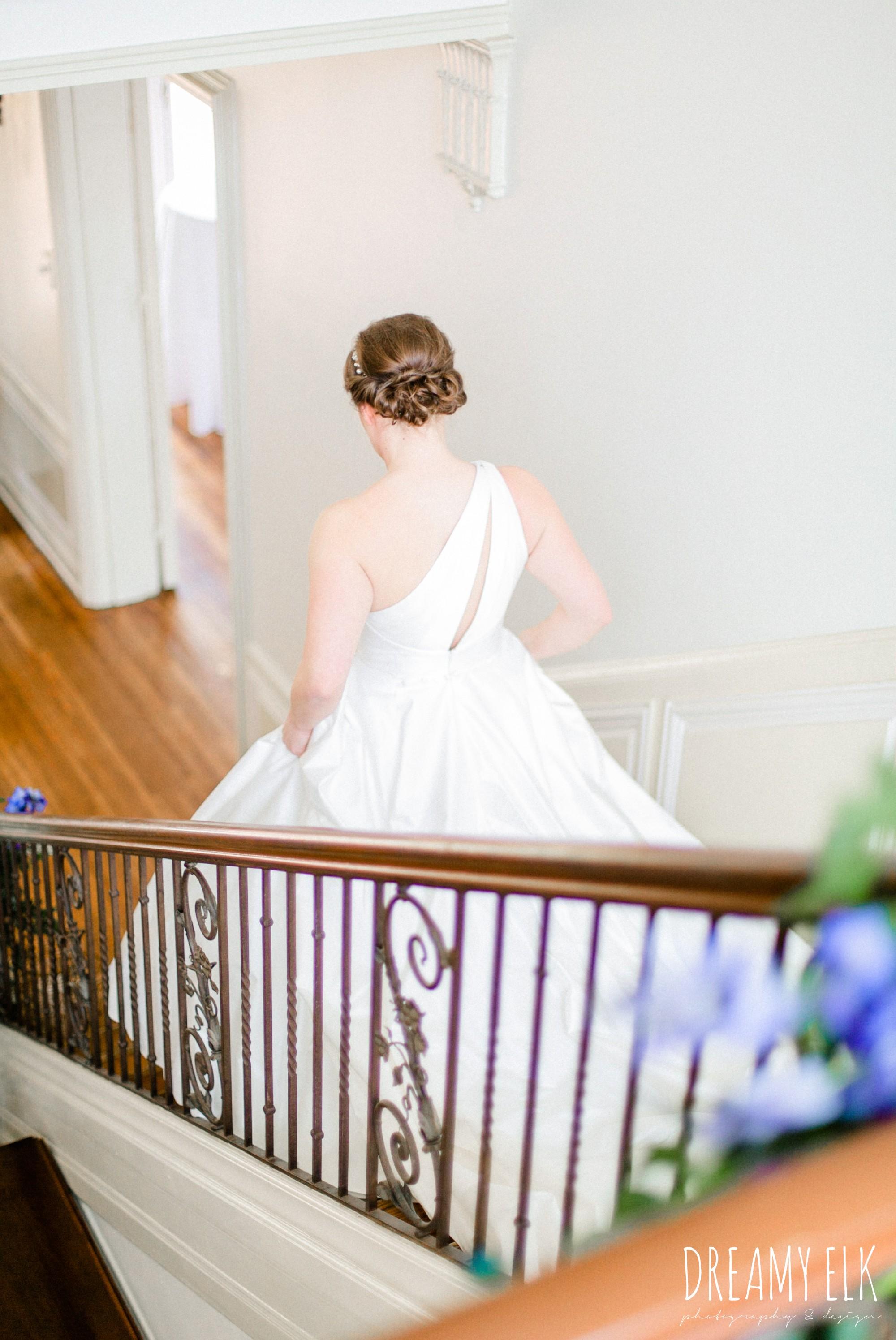 bride walking down the aisle, modern wedding dress ballgown, wedding hair updo, spring wedding, the astin mansion, bryan, texas, spring wedding, dreamy elk photography and design