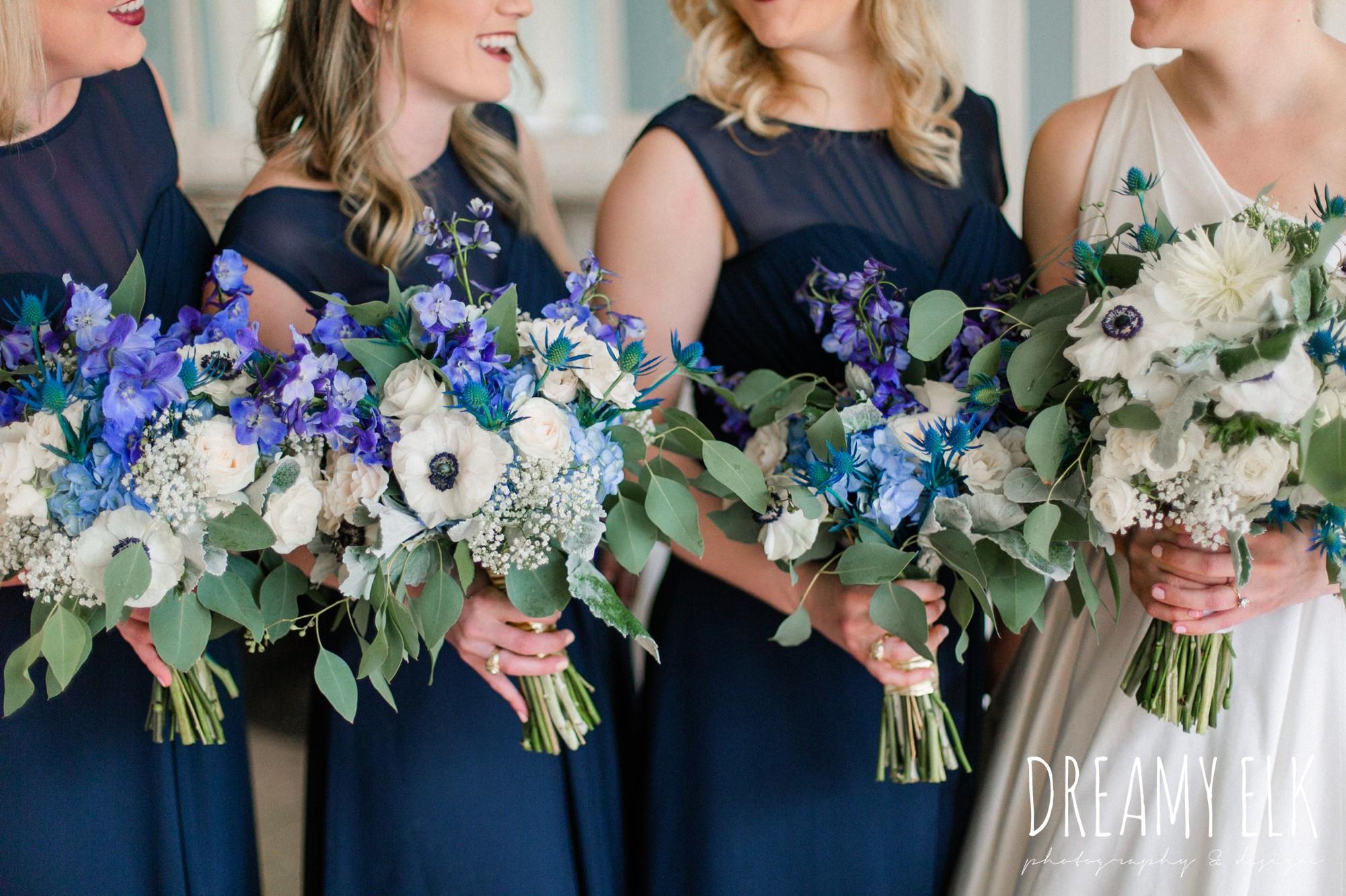 carriage house floral design, blue wedding bouquet, navy bridesmaid dress, spring wedding, the astin mansion, bryan, texas, spring wedding, dreamy elk photography and design