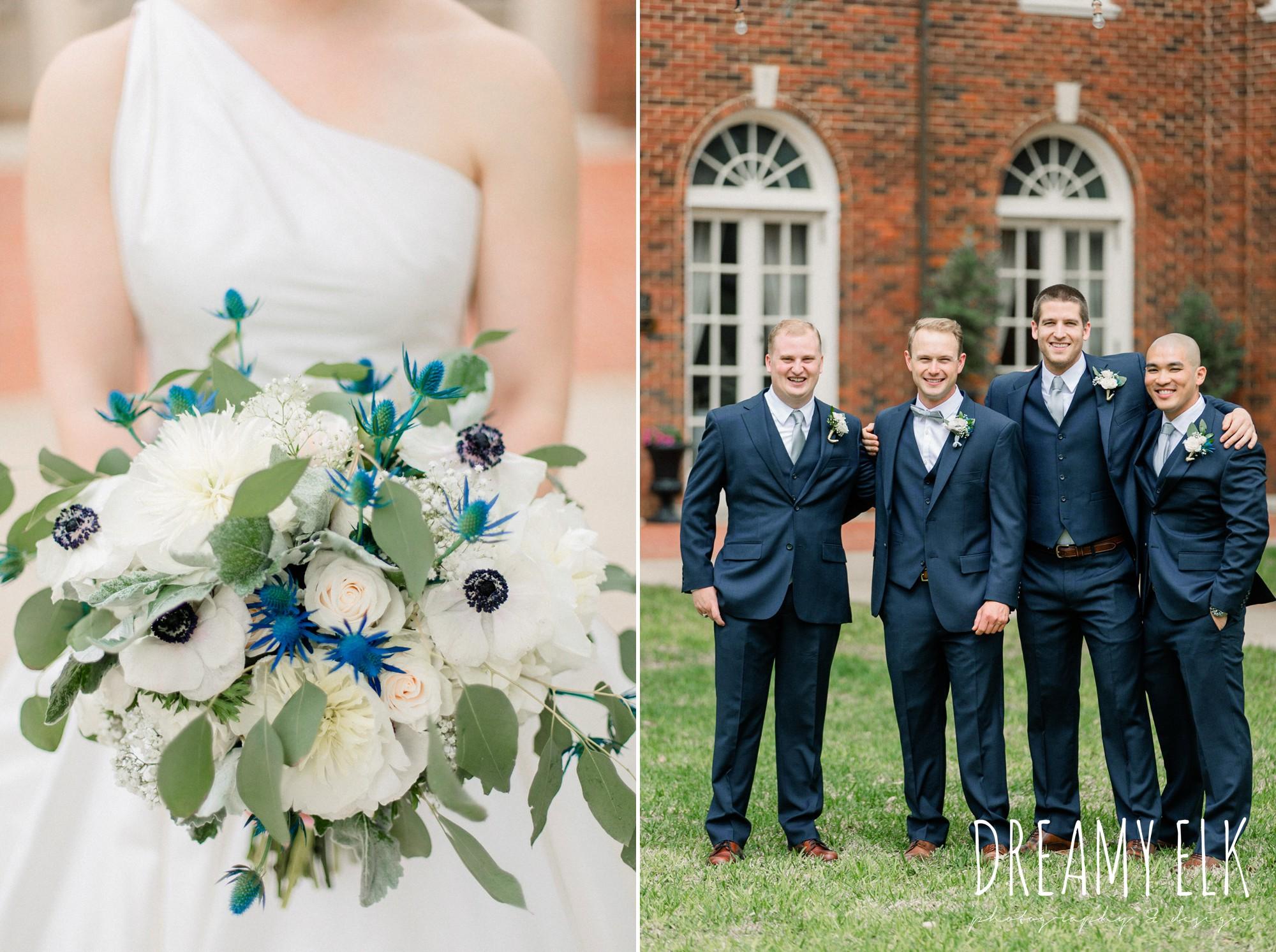 groom and groomsmen, blue wedding bouquet, modern wedding dress ballgown, spring wedding, the astin mansion, bryan, texas, spring wedding, dreamy elk photography and design