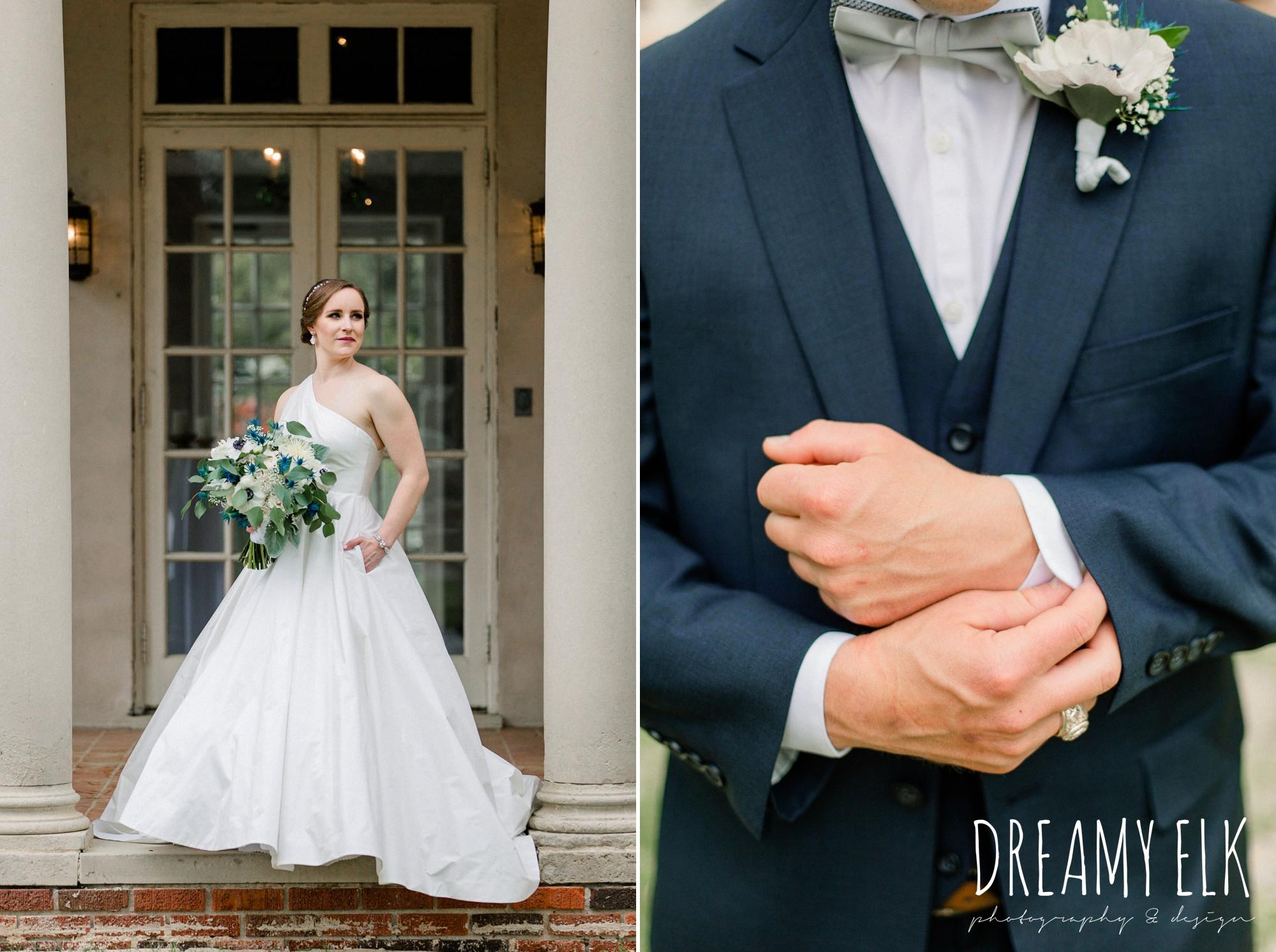 groom, men's wearhouse, blue wedding bouquet, modern wedding dress ballgown, spring wedding, the astin mansion, bryan, texas, spring wedding, dreamy elk photography and design
