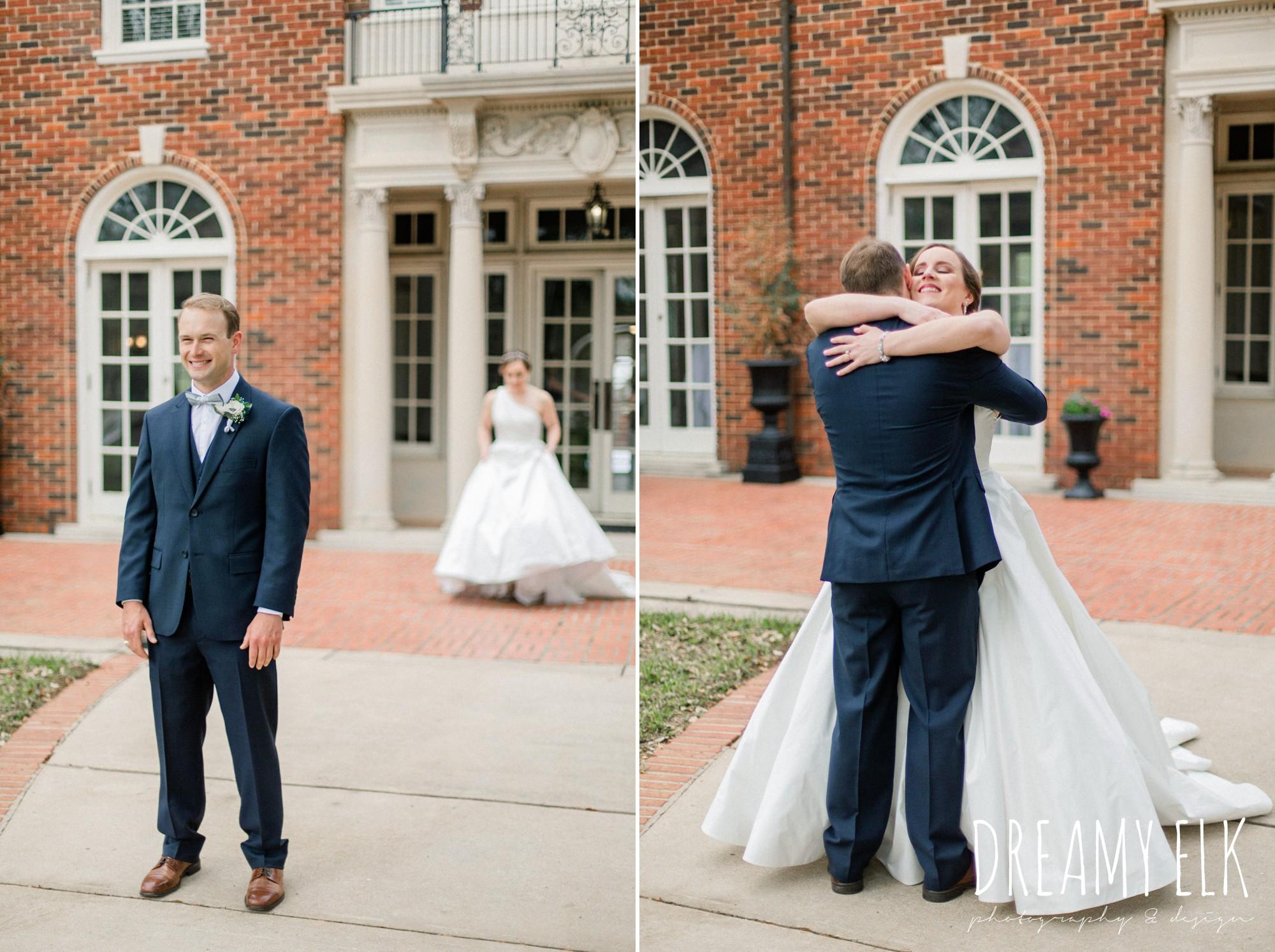 first look, modern wedding dress ballgown, spring wedding, the astin mansion, bryan, texas, spring wedding, dreamy elk photography and design