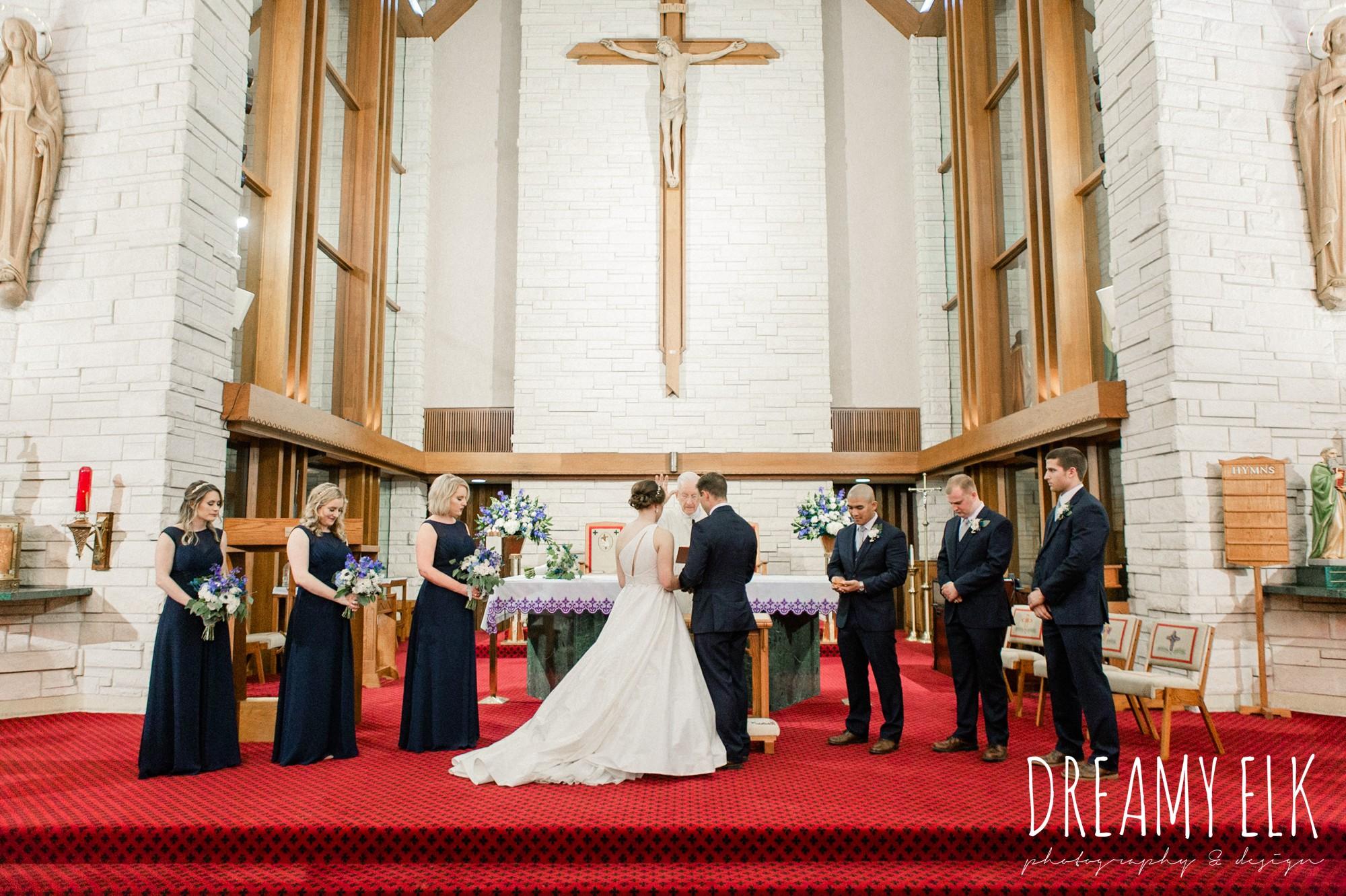 bride and groom, catholic wedding ceremony church, modern wedding dress ballgown, spring wedding, the astin mansion, bryan, texas, spring wedding, dreamy elk photography and design