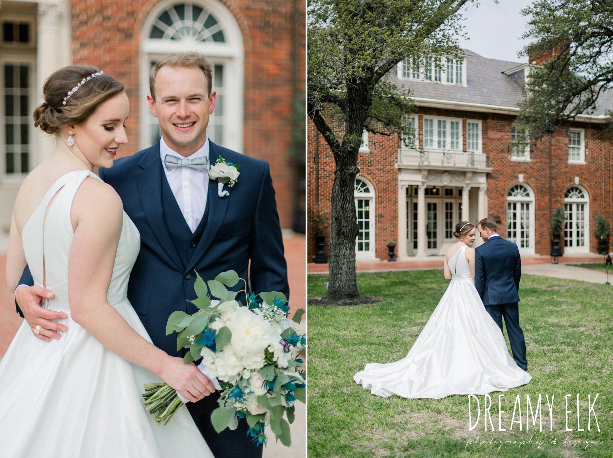 bride and groom, men's wearhouse, blue wedding bouquet, modern wedding dress ballgown, spring wedding, the astin mansion, bryan, texas, spring wedding, dreamy elk photography and design
