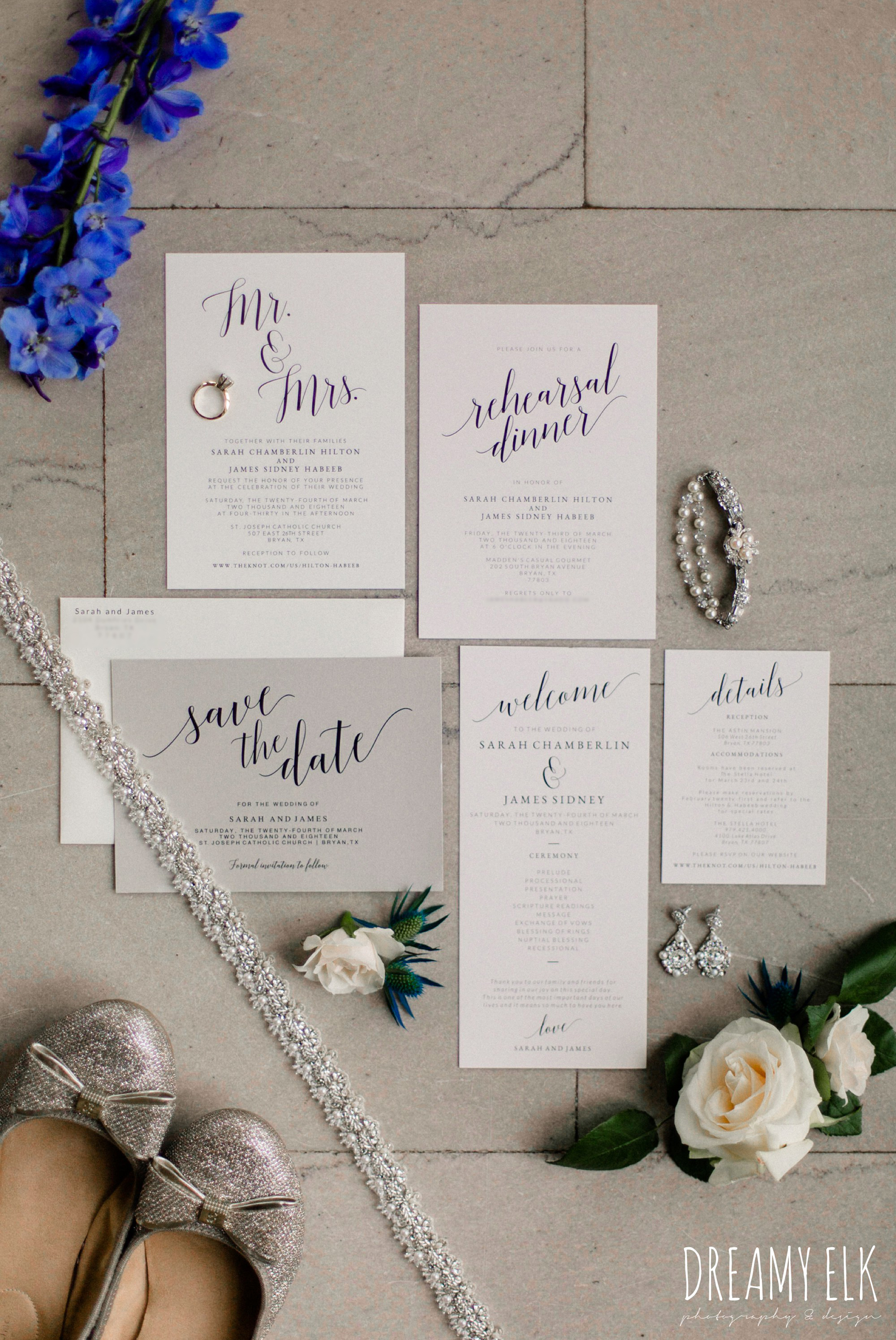 carriage house floral design, by blush press wedding invitation, spring wedding, the astin mansion, bryan, texas, spring wedding, dreamy elk photography and design