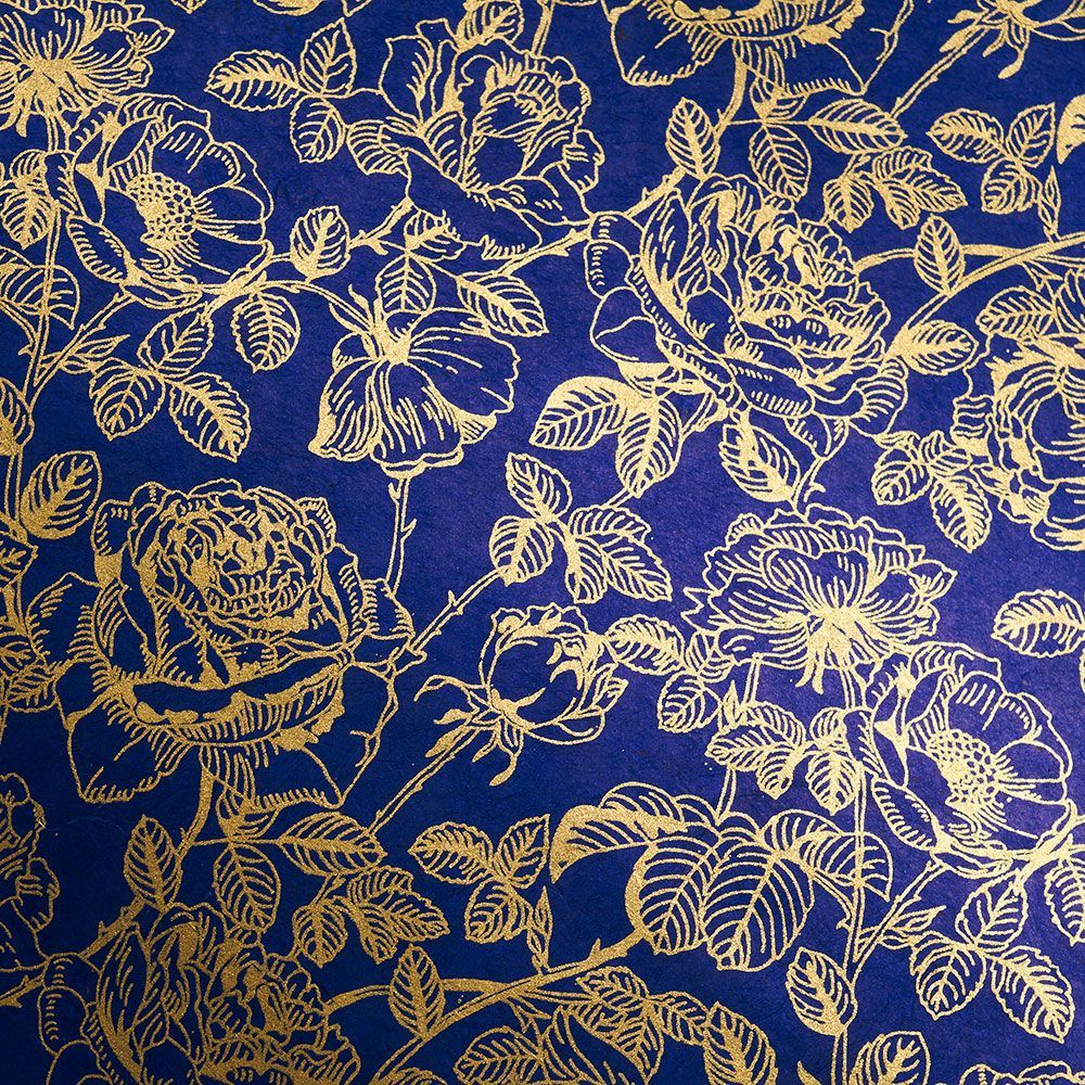 Romantic Gold Rose on Cobalt