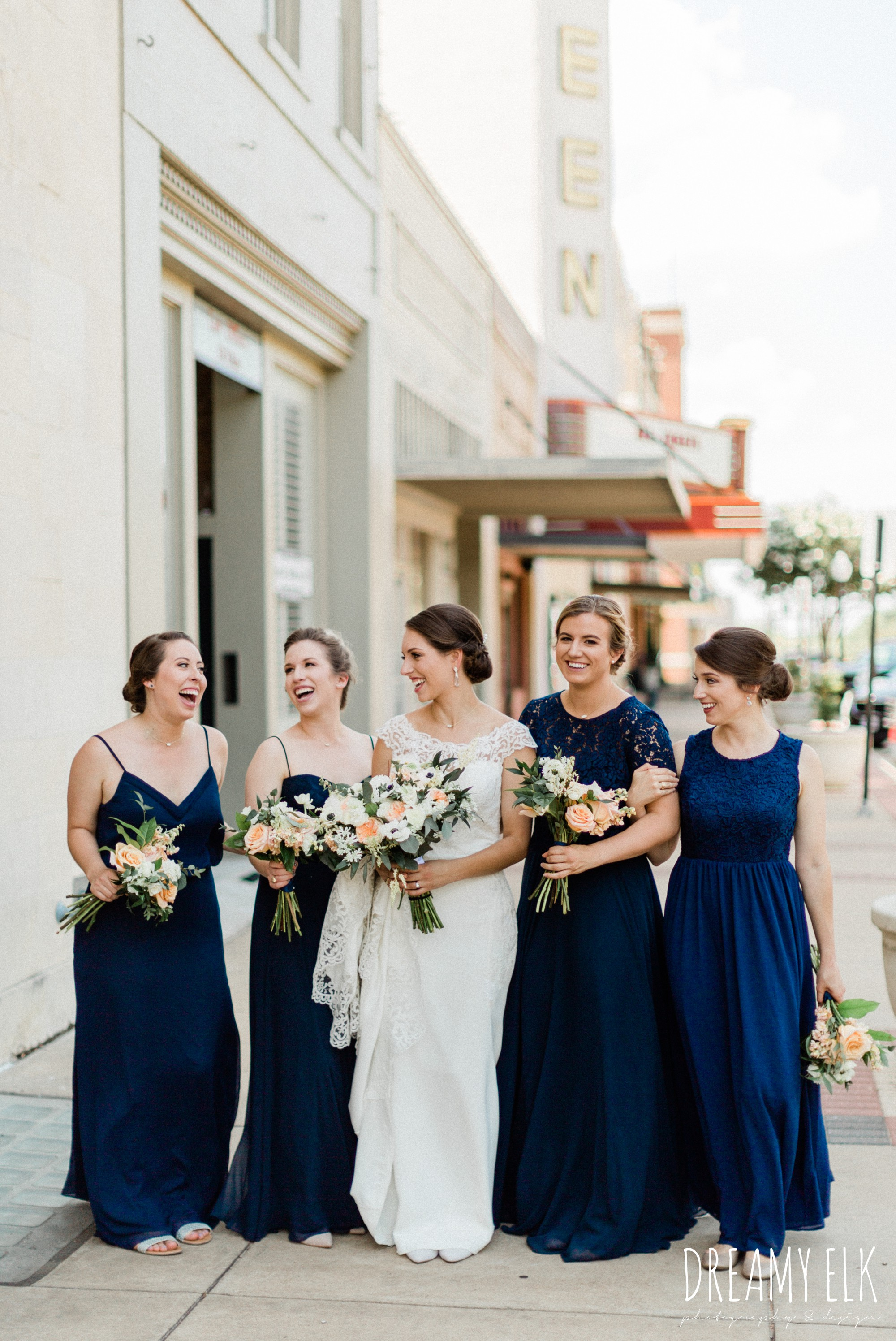 long navy mix matched bridesmaids dresses, bride, essense of australia column dress, unforgettable floral, spring wedding photo college station texas, dreamy elk photography and design